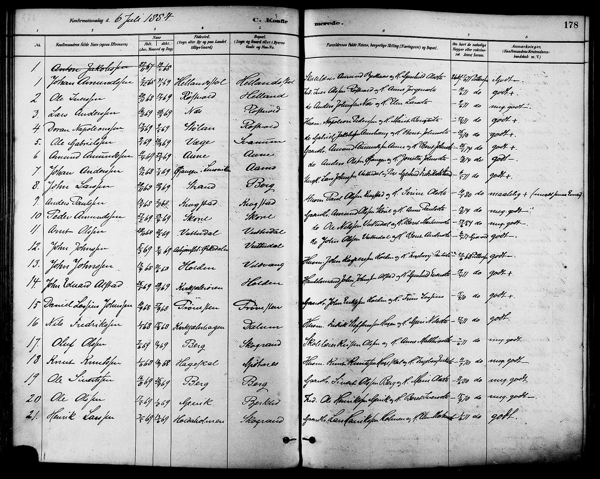 SAT, Ministerialprotokoller, klokkerbøker og fødselsregistre - Sør-Trøndelag, 630/L0496: Ministerialbok nr. 630A09, 1879-1895, s. 178