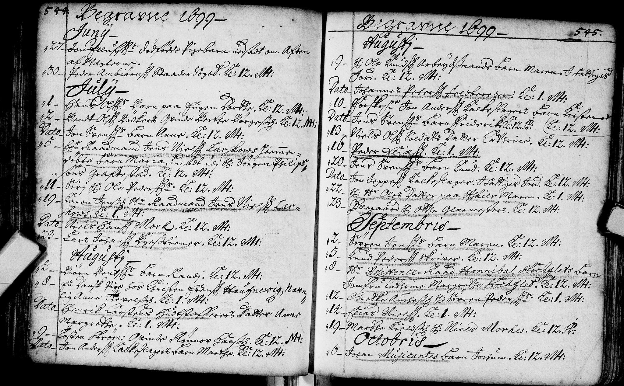 SAKO, Bragernes kirkebøker, F/Fa/L0002: Ministerialbok nr. I 2, 1680-1705, s. 544-545