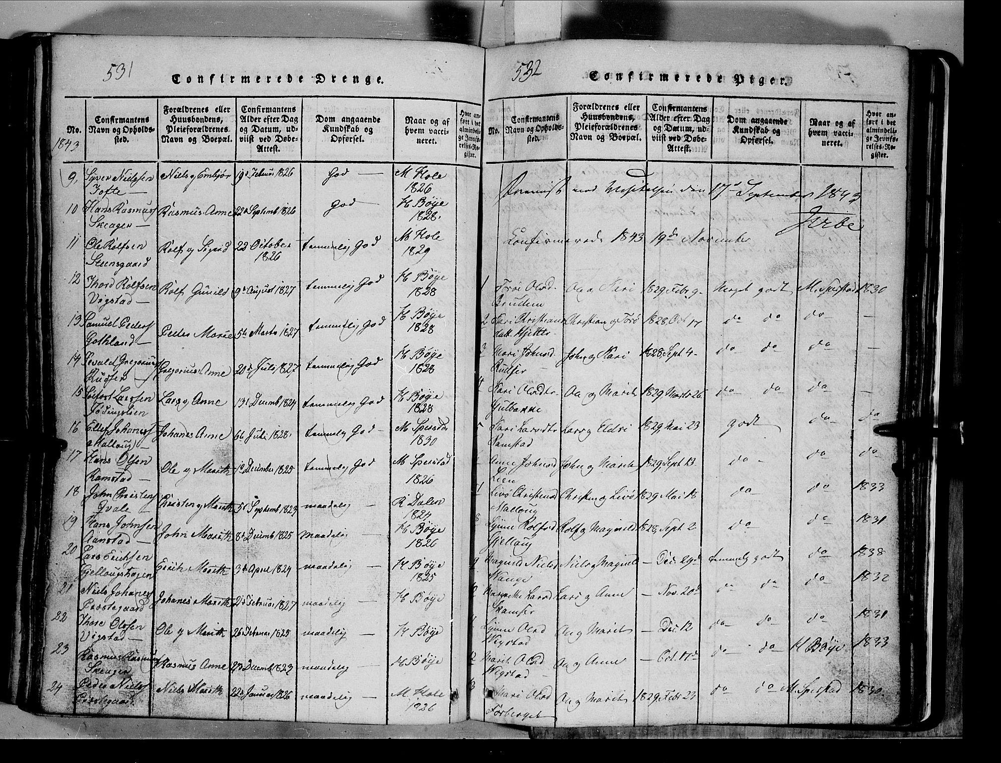 SAH, Lom prestekontor, L/L0003: Klokkerbok nr. 3, 1815-1844, s. 531-532