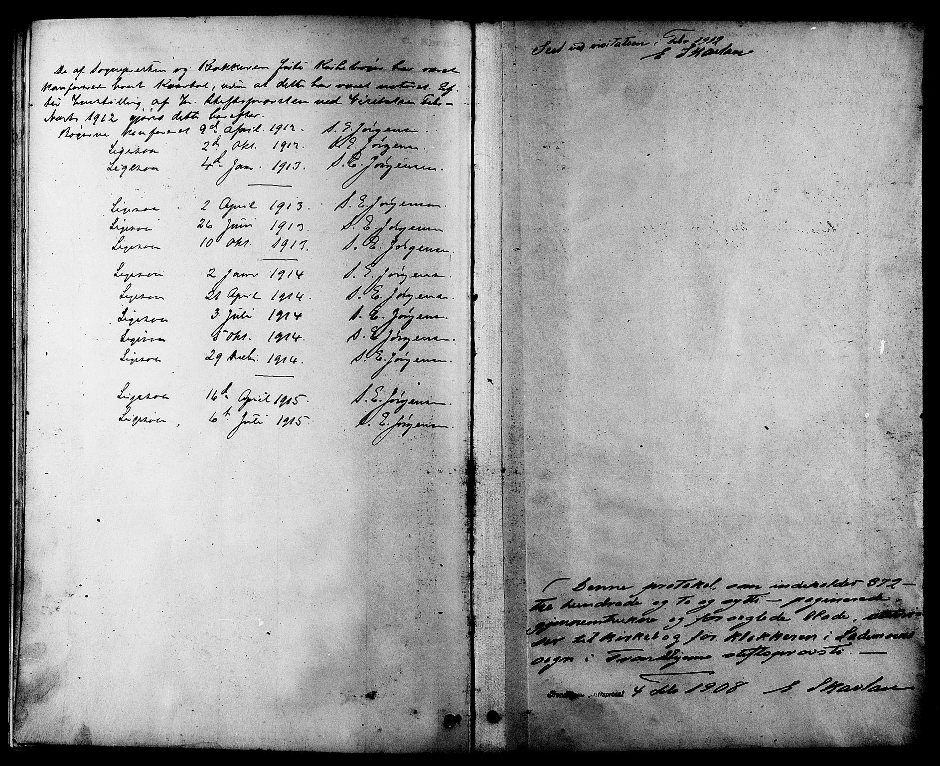 SAT, Ministerialprotokoller, klokkerbøker og fødselsregistre - Sør-Trøndelag, 605/L0254: Klokkerbok nr. 605C01, 1908-1916