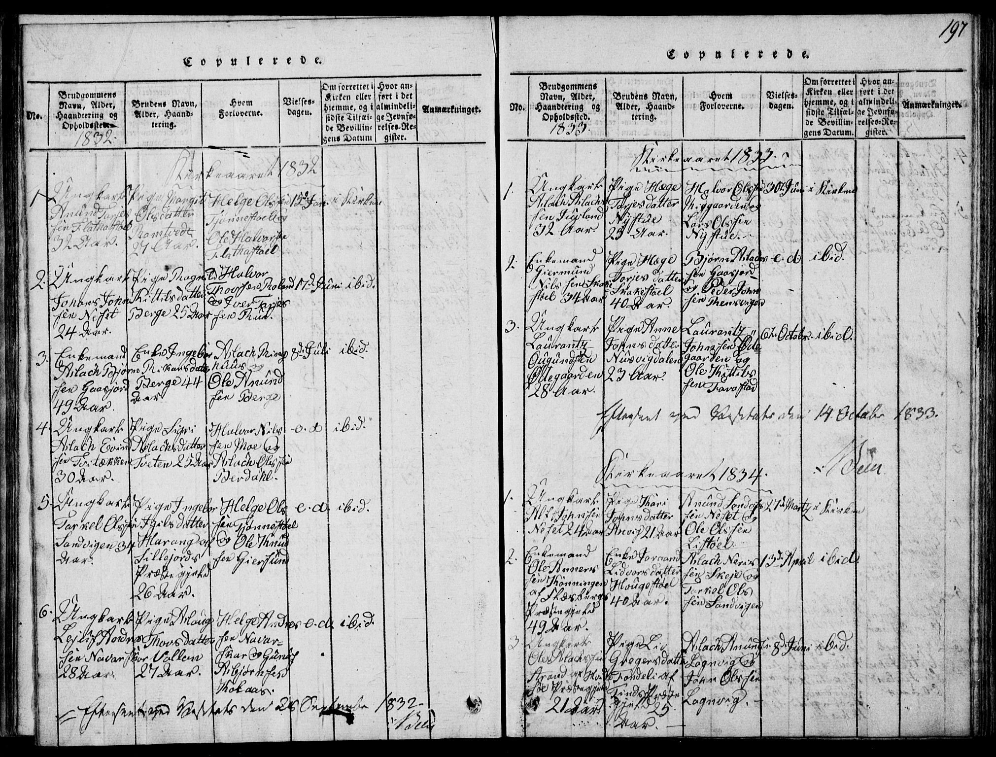 SAKO, Rauland kirkebøker, G/Ga/L0001: Klokkerbok nr. I 1, 1814-1843, s. 197