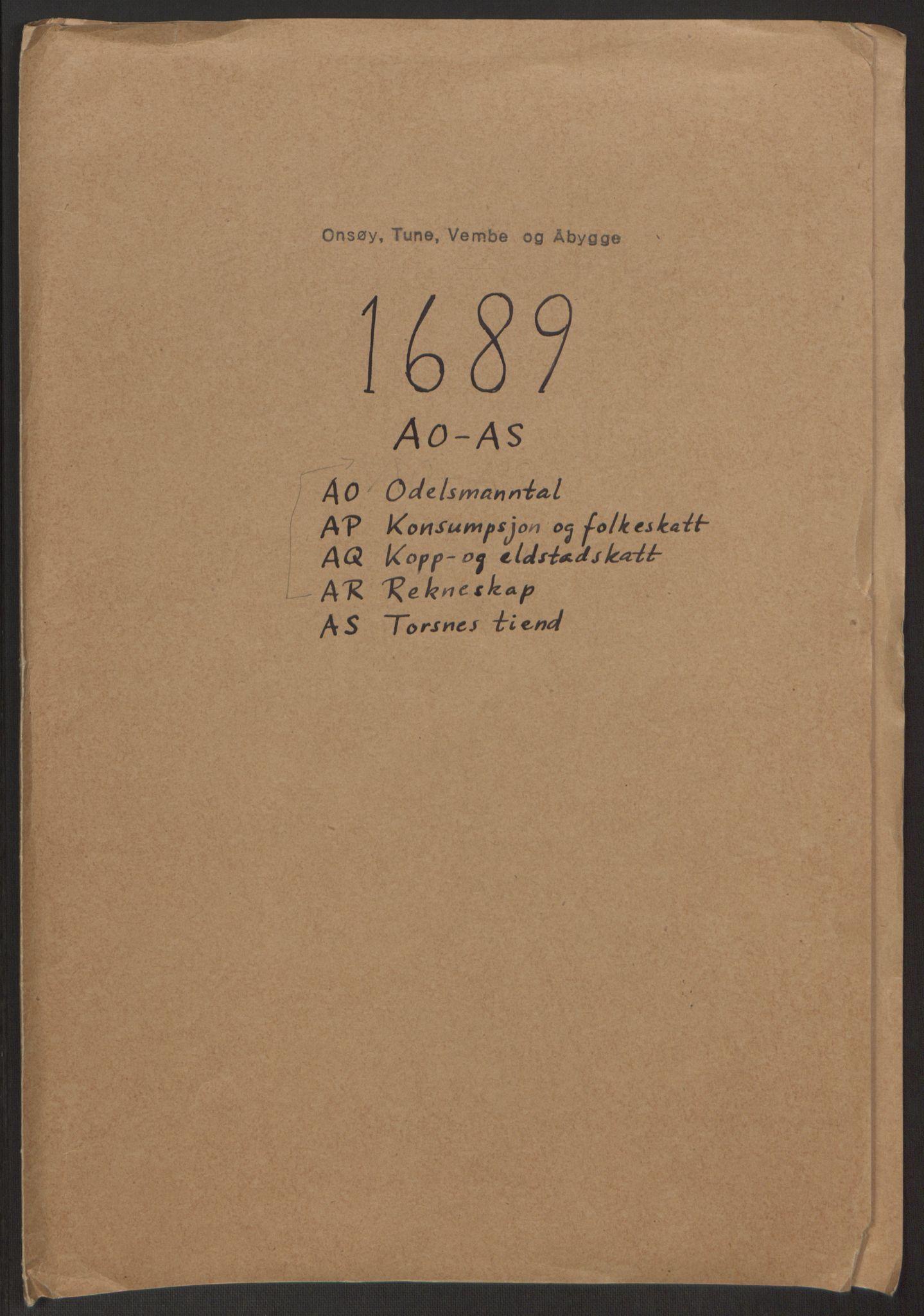 RA, Rentekammeret inntil 1814, Reviderte regnskaper, Fogderegnskap, R03/L0118: Fogderegnskap Onsøy, Tune, Veme og Åbygge fogderi, 1684-1689, s. 2