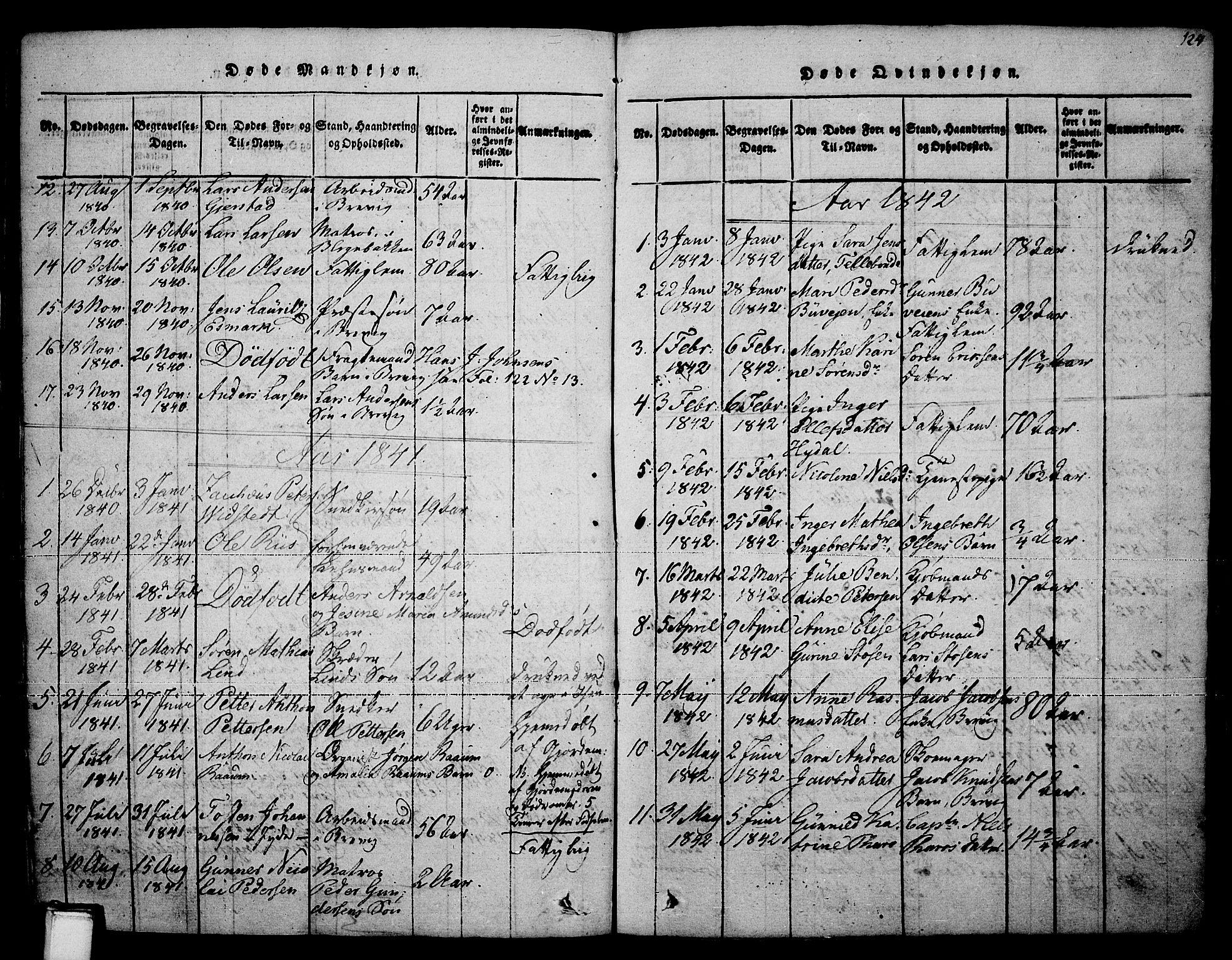 SAKO, Brevik kirkebøker, F/Fa/L0004: Ministerialbok nr. 4, 1814-1846, s. 124