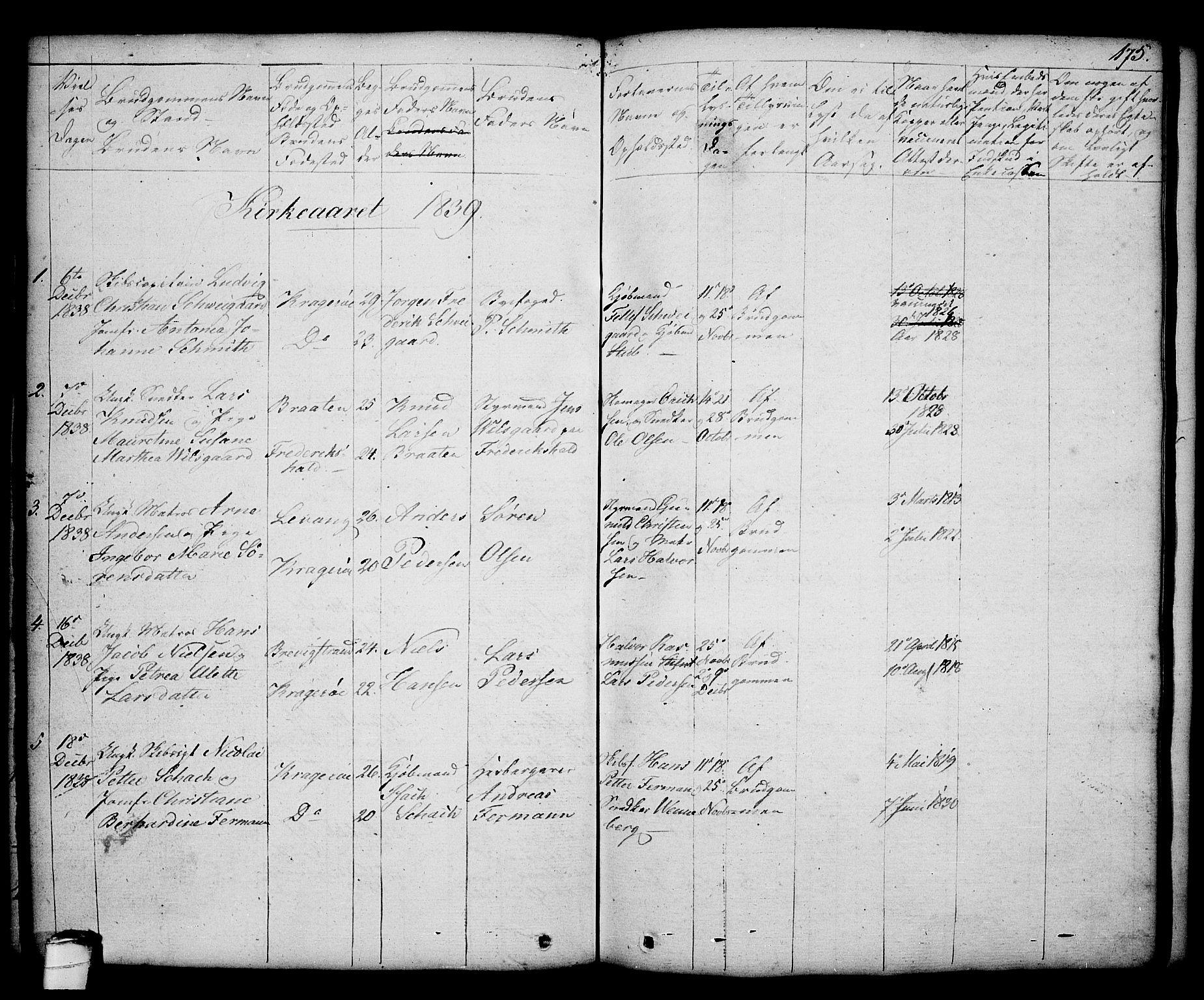 SAKO, Kragerø kirkebøker, G/Ga/L0003: Klokkerbok nr. 3, 1832-1852, s. 175