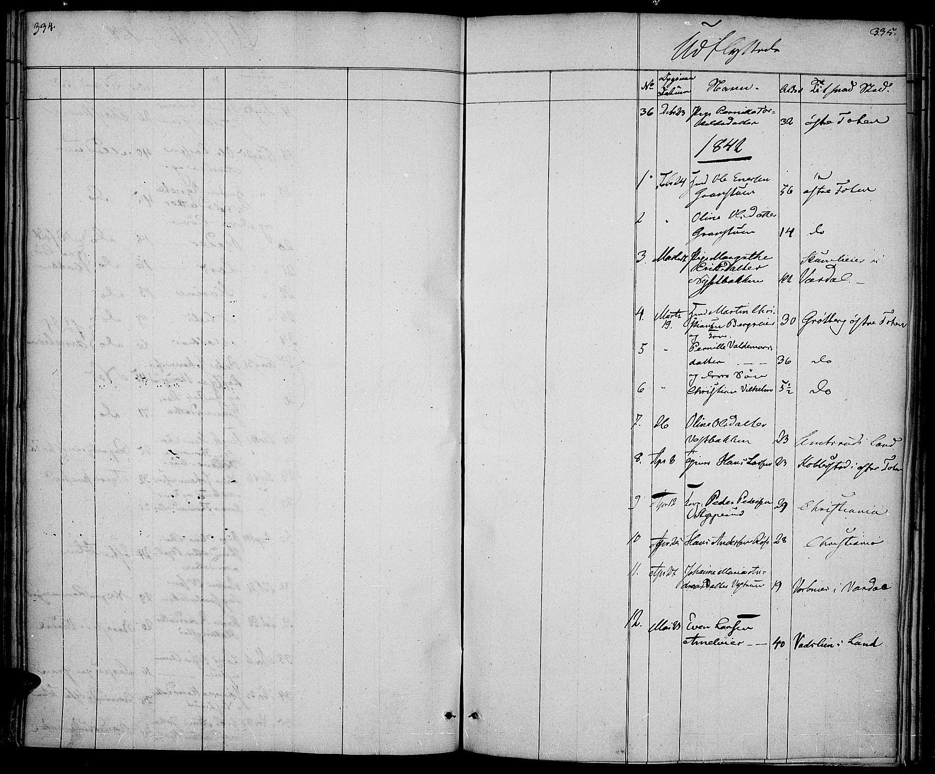 SAH, Vestre Toten prestekontor, H/Ha/Haa/L0003: Ministerialbok nr. 3, 1836-1843, s. 334-335