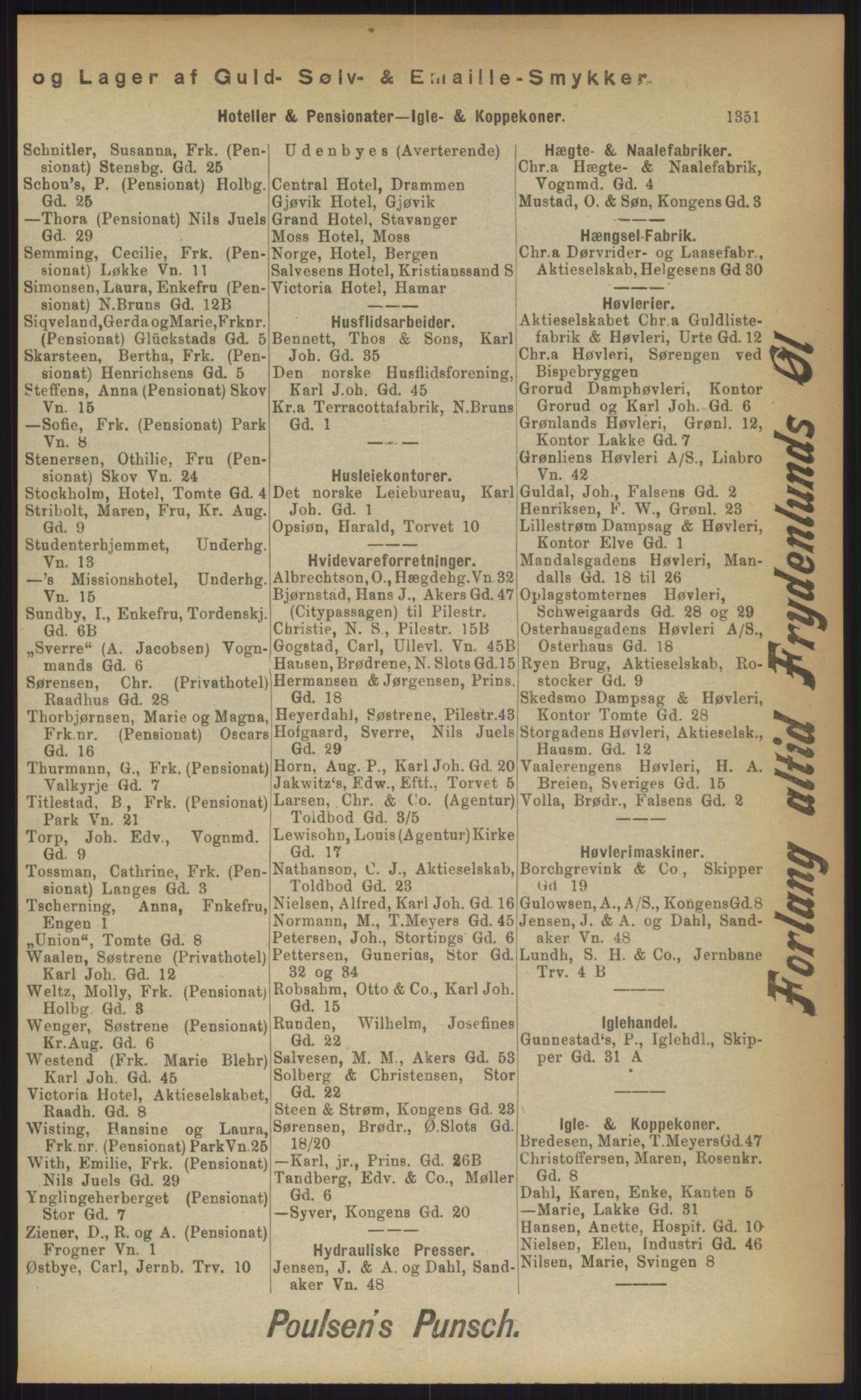 RA, Kristiania adressebok (publikasjon)*, 1903, s. 1351