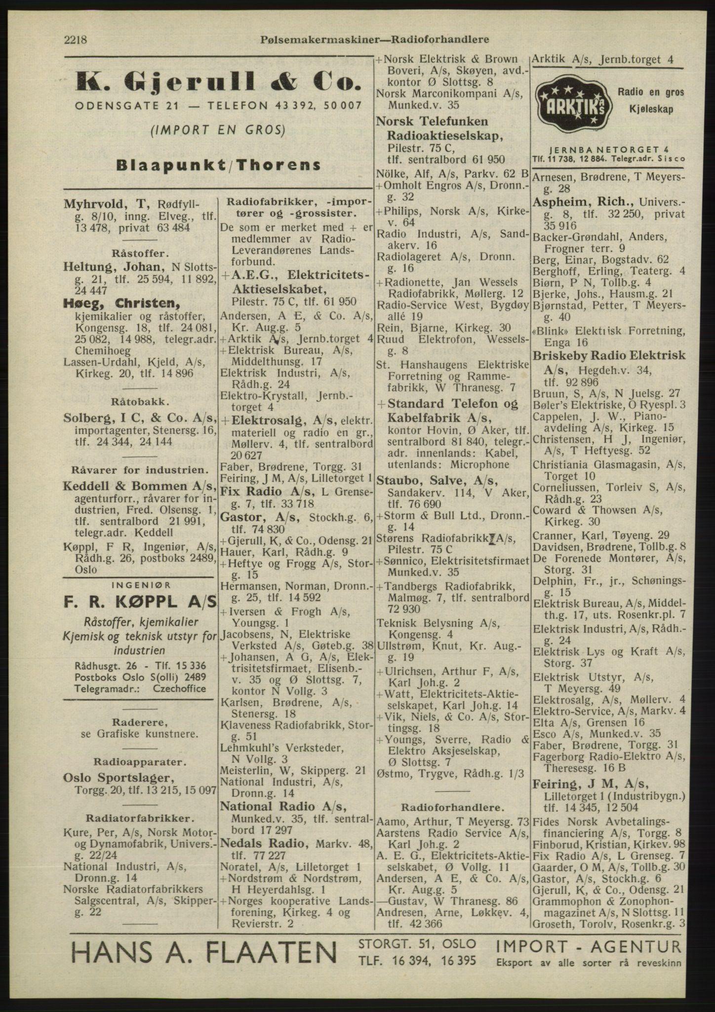 RA, Oslo adressebok (publikasjon)*, 1945, s. 2218