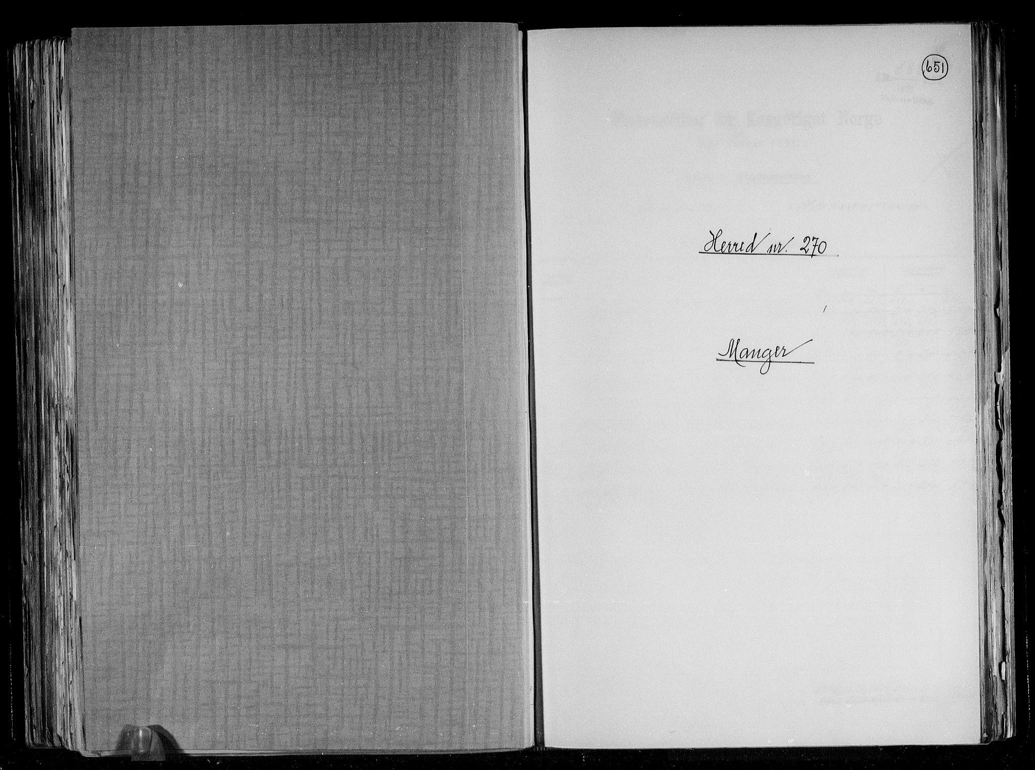 RA, Folketelling 1891 for 1261 Manger herred, 1891, s. 1