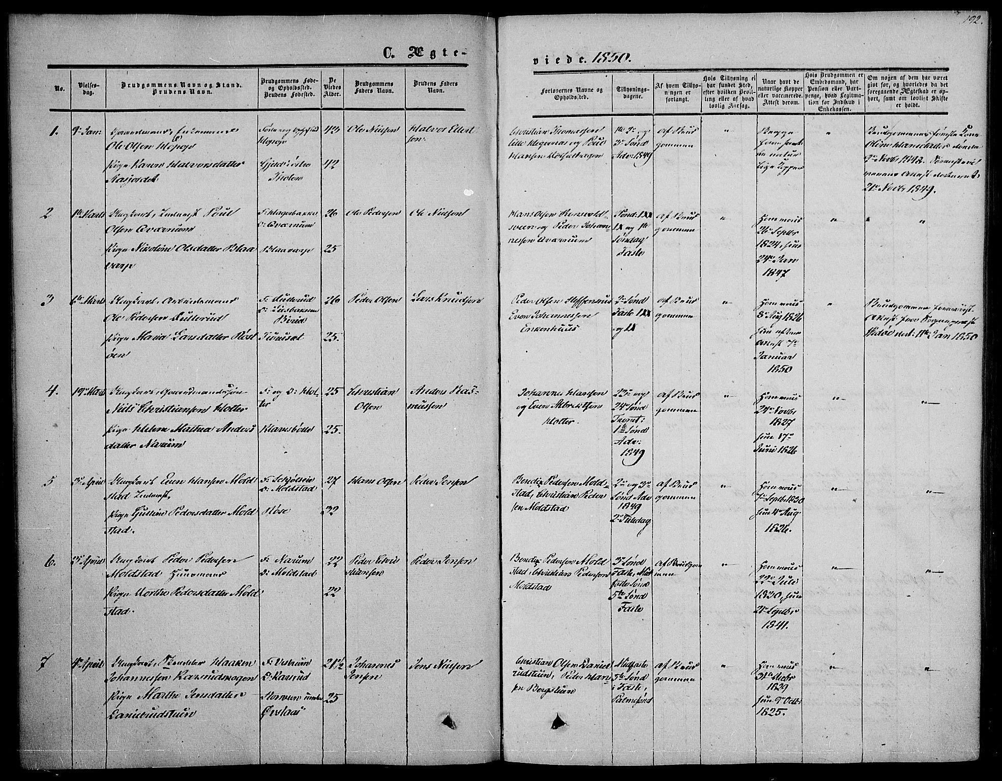 SAH, Vestre Toten prestekontor, H/Ha/Haa/L0005: Ministerialbok nr. 5, 1850-1855, s. 192