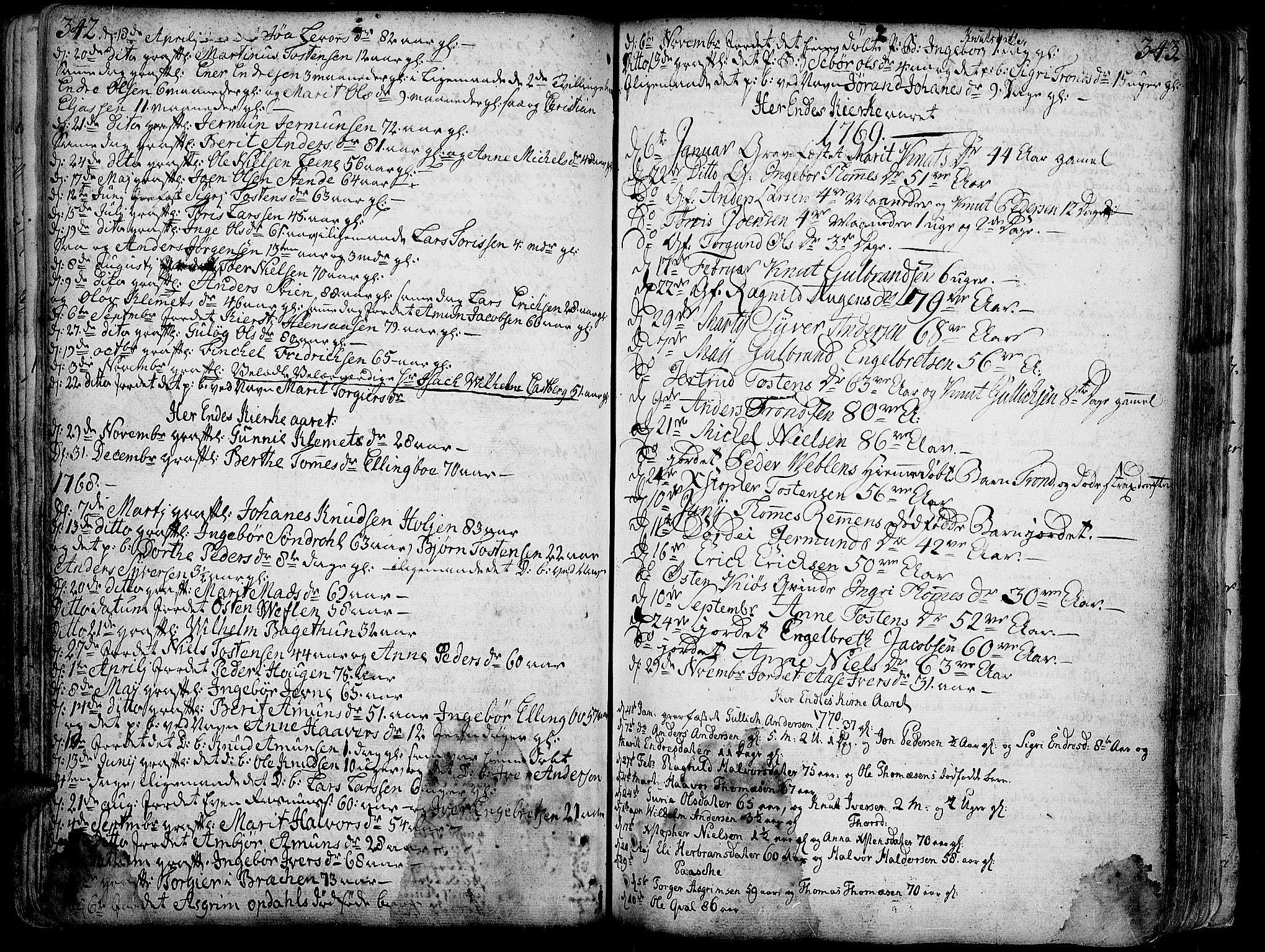 SAH, Vang prestekontor, Valdres, Ministerialbok nr. 1, 1730-1796, s. 342-343