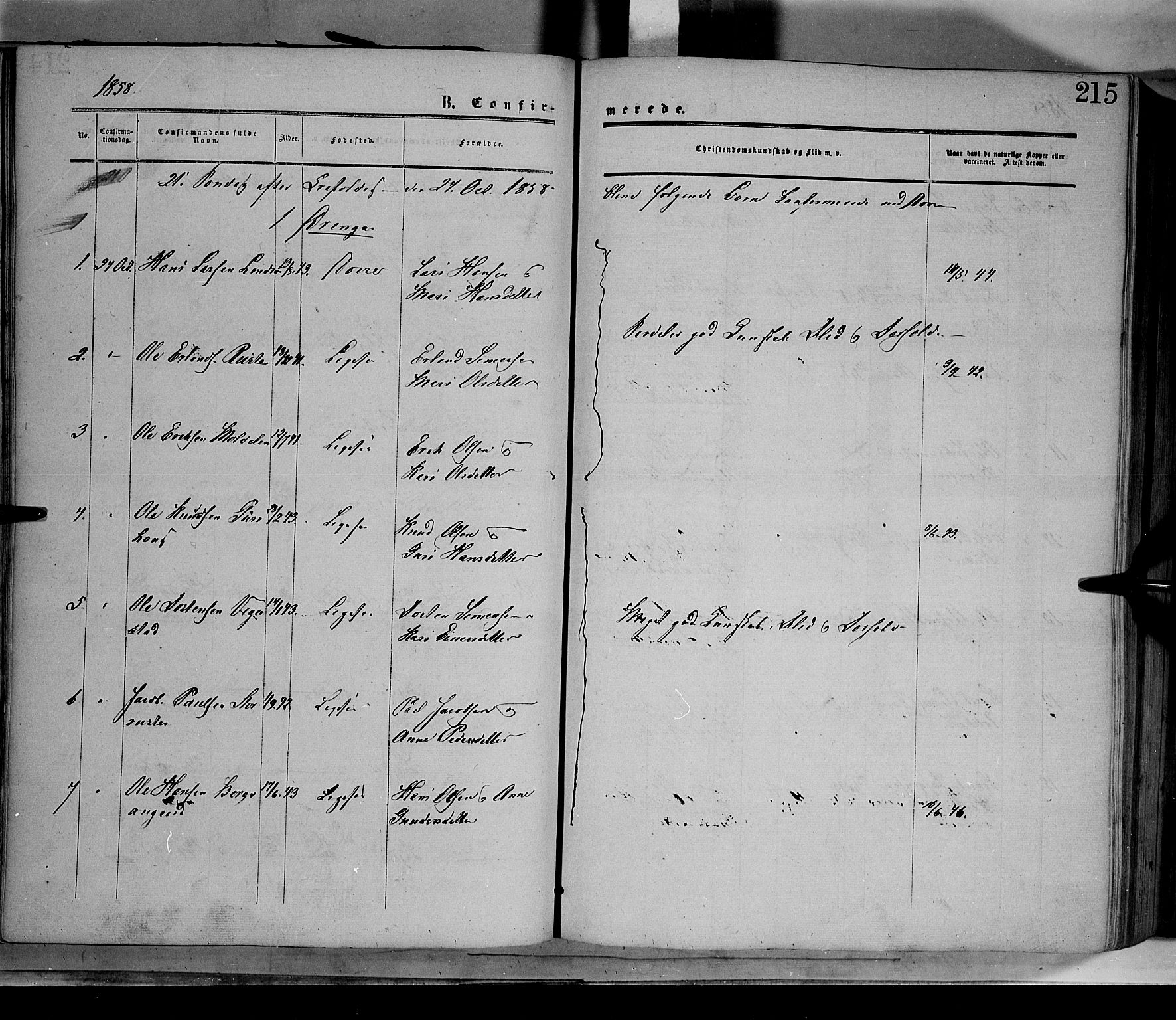 SAH, Dovre prestekontor, Ministerialbok nr. 1, 1854-1878, s. 215