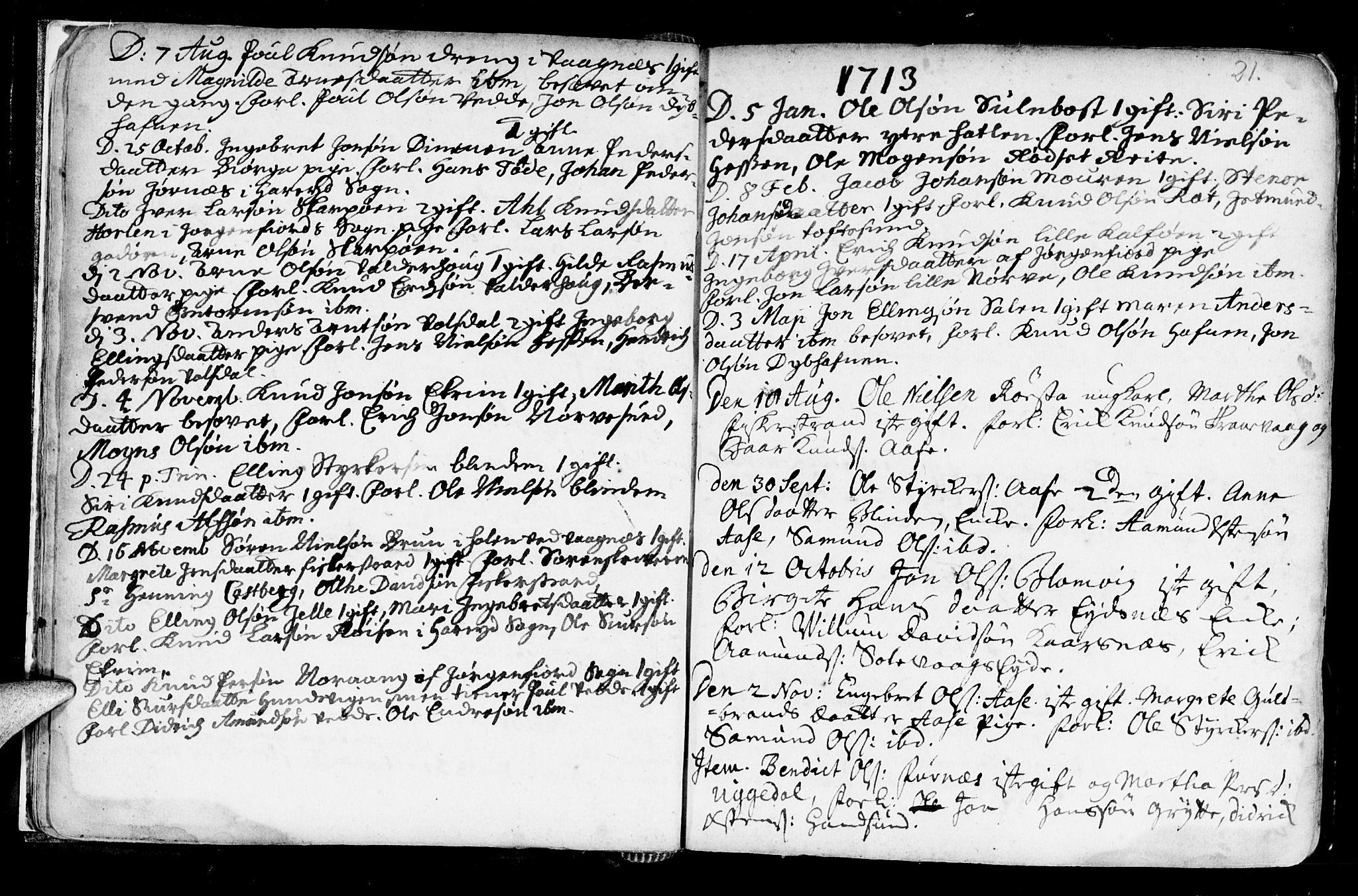SAT, Ministerialprotokoller, klokkerbøker og fødselsregistre - Møre og Romsdal, 528/L0390: Ministerialbok nr. 528A01, 1698-1739, s. 20-21