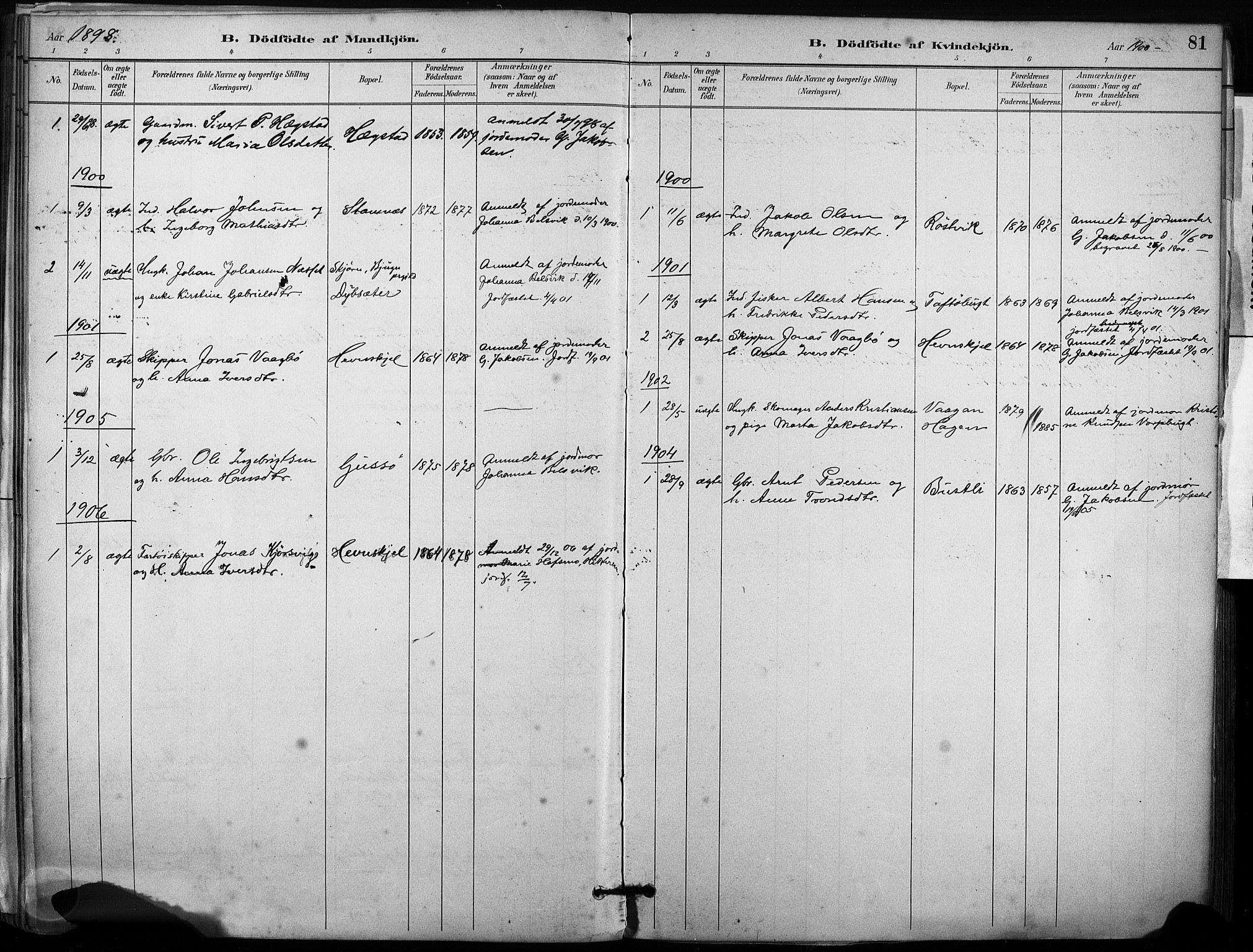 SAT, Ministerialprotokoller, klokkerbøker og fødselsregistre - Sør-Trøndelag, 633/L0518: Ministerialbok nr. 633A01, 1884-1906, s. 81