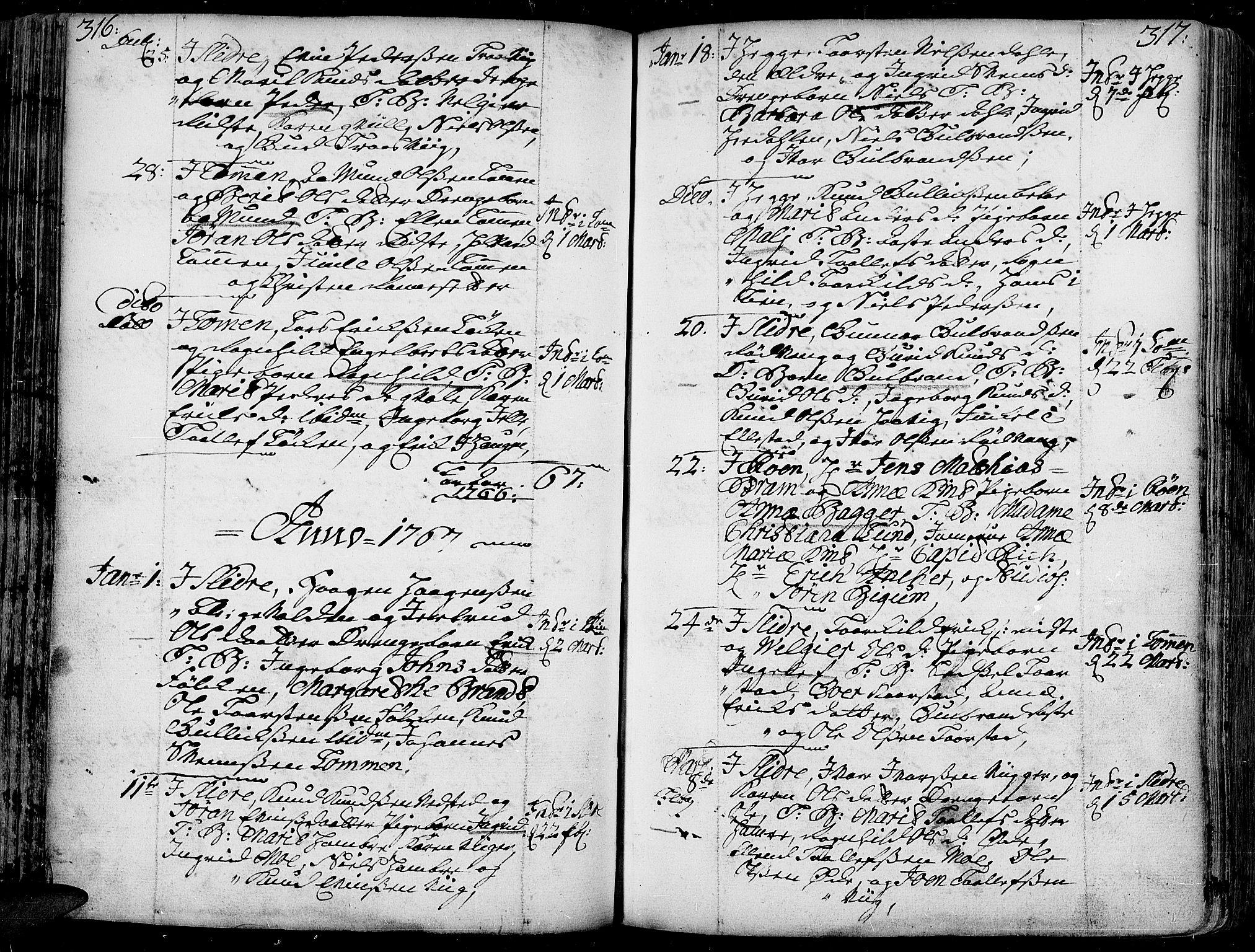 SAH, Slidre prestekontor, Ministerialbok nr. 1, 1724-1814, s. 316-317