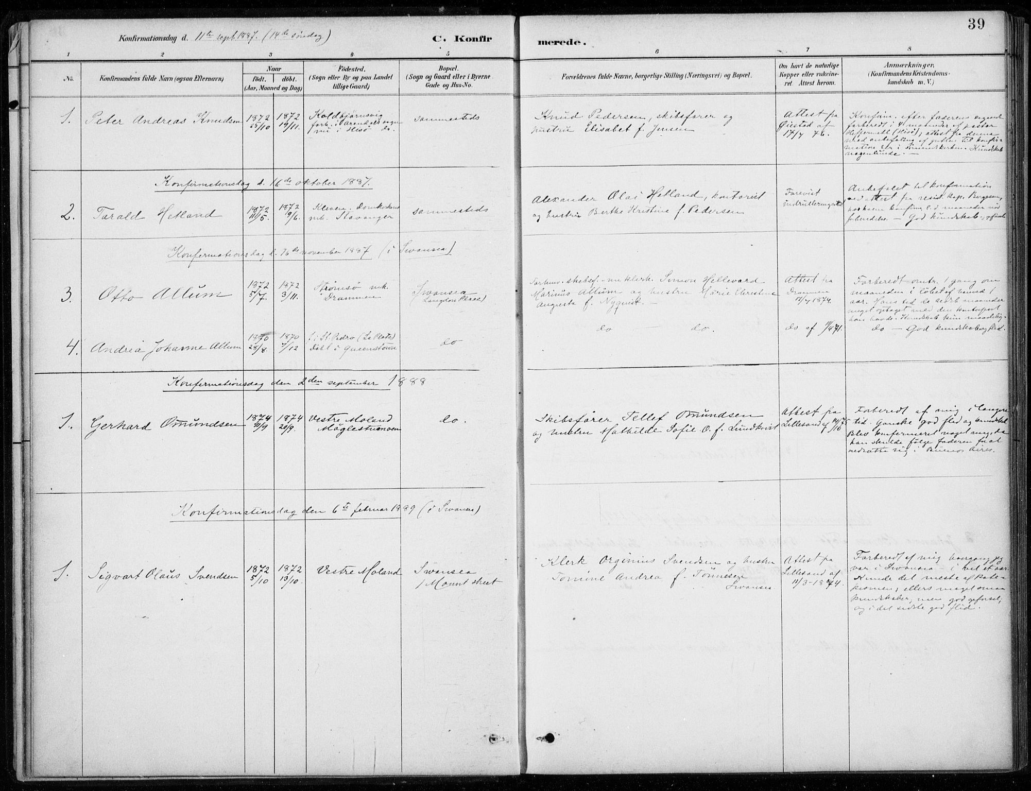 SAB, Den Norske Sjømannsmisjon i utlandet*, Ministerialbok nr. A 2, 1887-1932, s. 39