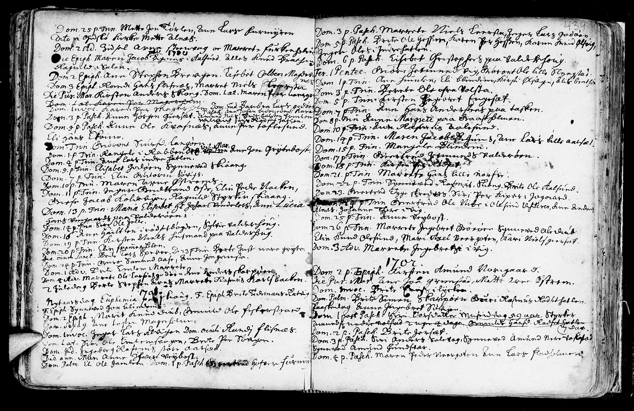 SAT, Ministerialprotokoller, klokkerbøker og fødselsregistre - Møre og Romsdal, 528/L0390: Ministerialbok nr. 528A01, 1698-1739, s. 438-439