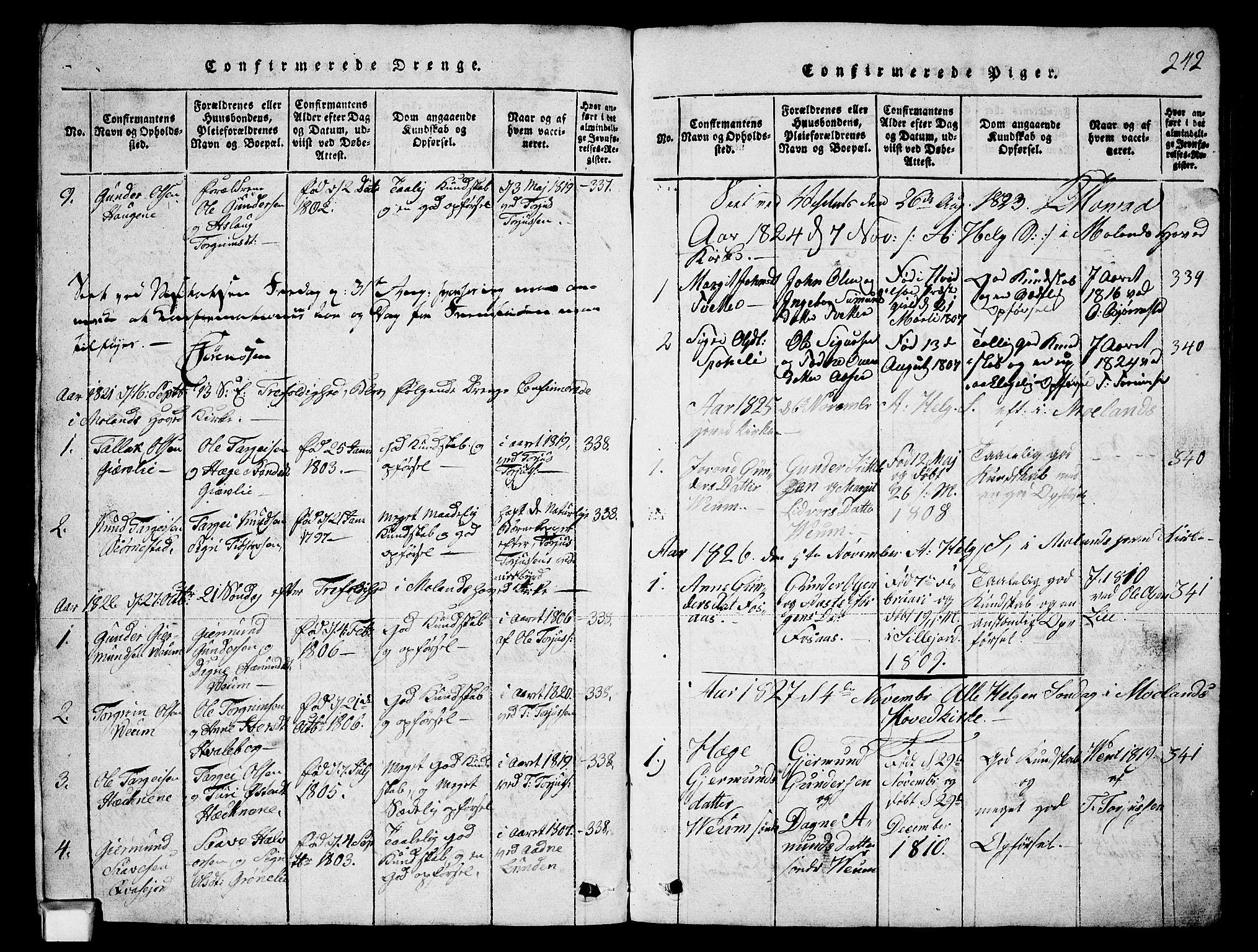 SAKO, Fyresdal kirkebøker, G/Ga/L0003: Klokkerbok nr. I 3, 1815-1863, s. 242