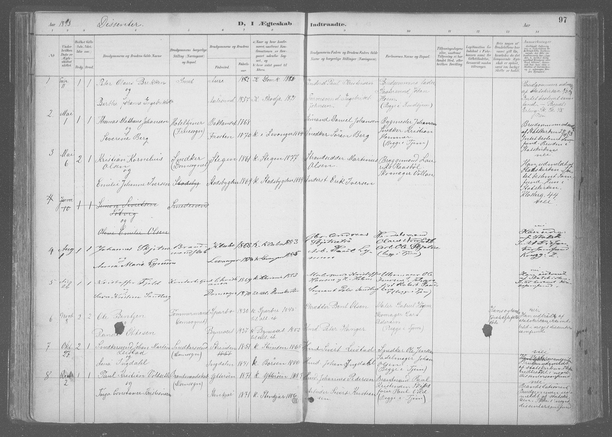 SAT, Ministerialprotokoller, klokkerbøker og fødselsregistre - Sør-Trøndelag, 601/L0064: Ministerialbok nr. 601A31, 1891-1911, s. 97