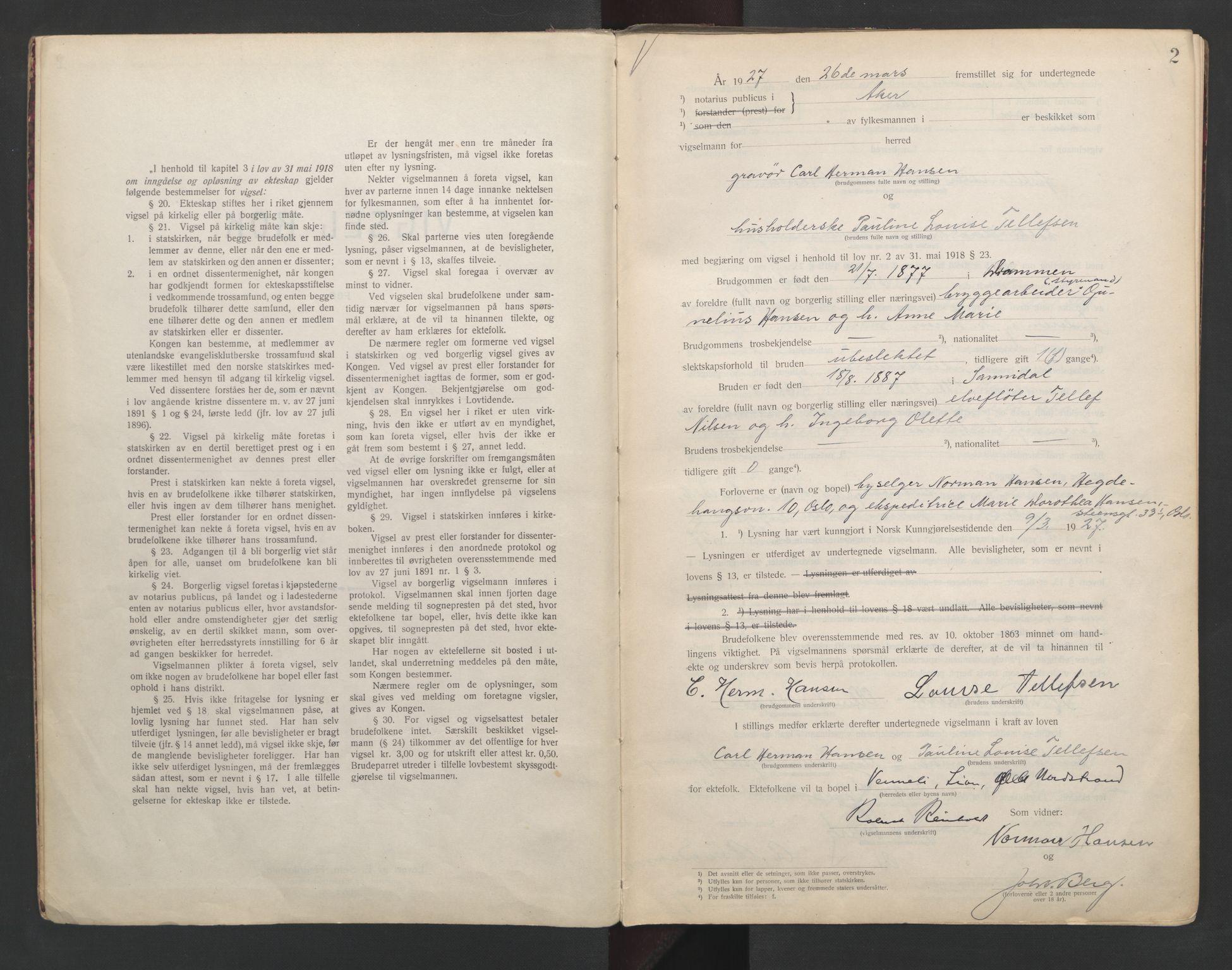 SAO, Aker sorenskriveri, L/Lc/Lcb/L0004: Vigselprotokoll, 1927-1929, s. 2