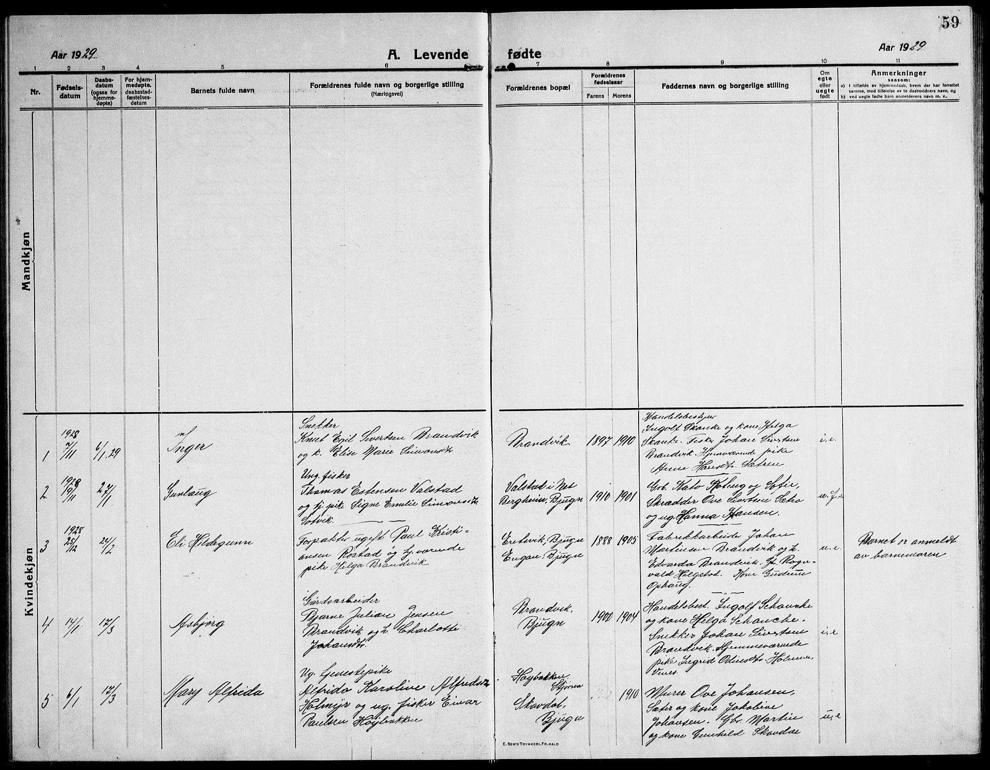 SAT, Ministerialprotokoller, klokkerbøker og fødselsregistre - Sør-Trøndelag, 651/L0648: Klokkerbok nr. 651C02, 1915-1945, s. 59