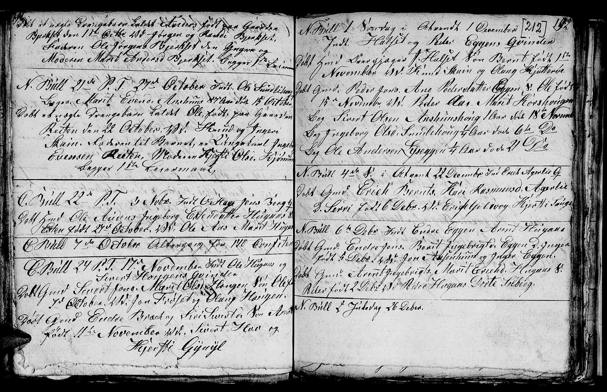 SAT, Ministerialprotokoller, klokkerbøker og fødselsregistre - Sør-Trøndelag, 689/L1042: Klokkerbok nr. 689C01, 1812-1841, s. 211-212