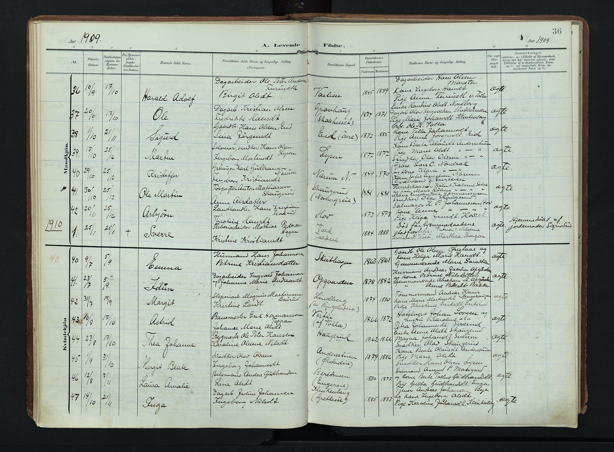 SAH, Søndre Land prestekontor, K/L0007: Ministerialbok nr. 7, 1905-1914, s. 36