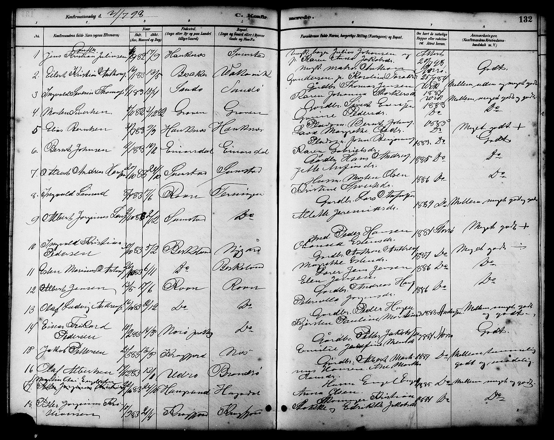 SAT, Ministerialprotokoller, klokkerbøker og fødselsregistre - Sør-Trøndelag, 657/L0716: Klokkerbok nr. 657C03, 1889-1904, s. 132