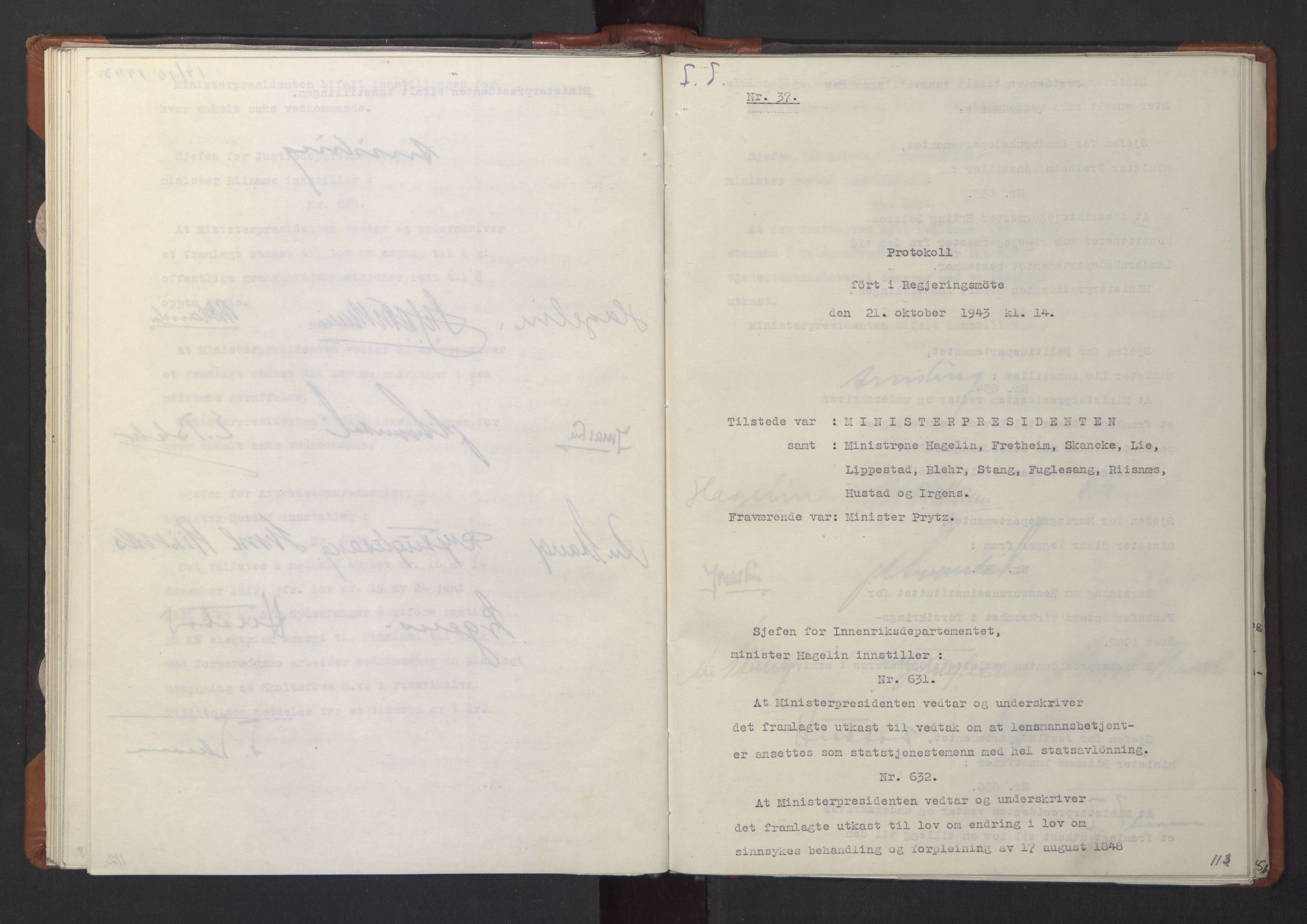 RA, NS-administrasjonen 1940-1945 (Statsrådsekretariatet, de kommisariske statsråder mm), D/Da/L0003: Vedtak (Beslutninger) nr. 1-746 og tillegg nr. 1-47 (RA. j.nr. 1394/1944, tilgangsnr. 8/1944, 1943, s. 112b-113a