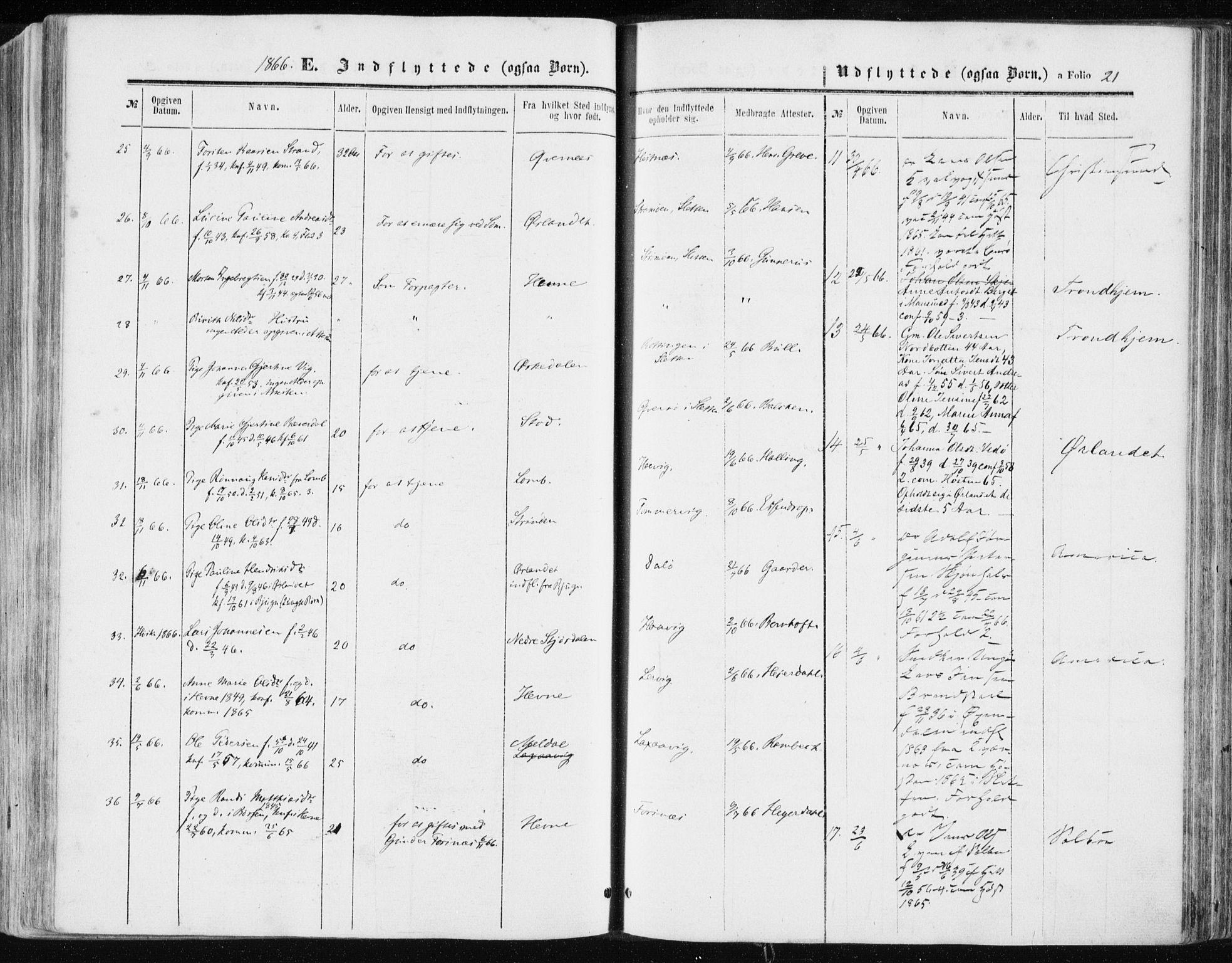 SAT, Ministerialprotokoller, klokkerbøker og fødselsregistre - Sør-Trøndelag, 634/L0531: Ministerialbok nr. 634A07, 1861-1870, s. 21