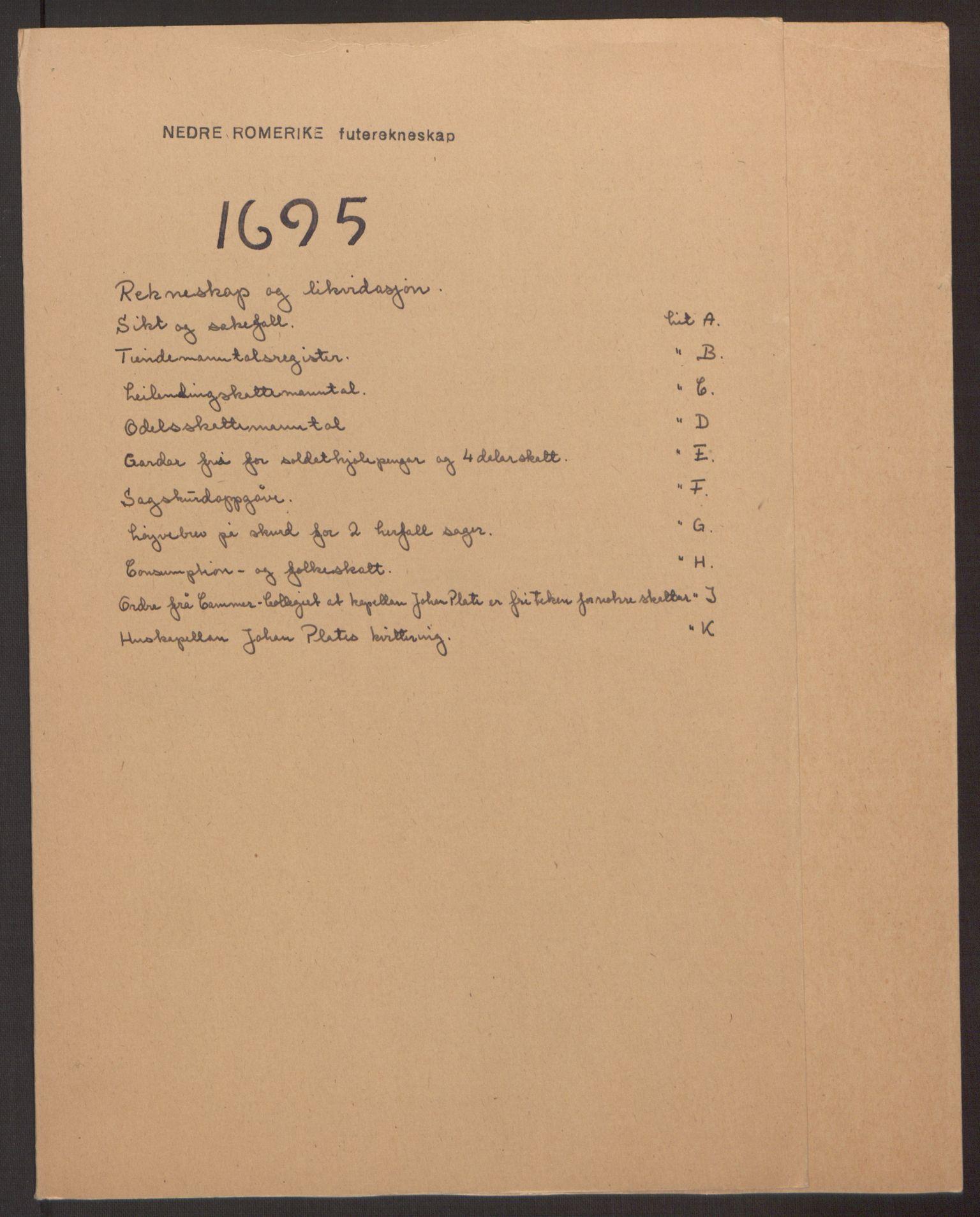 RA, Rentekammeret inntil 1814, Reviderte regnskaper, Fogderegnskap, R11/L0579: Fogderegnskap Nedre Romerike, 1694-1695, s. 229