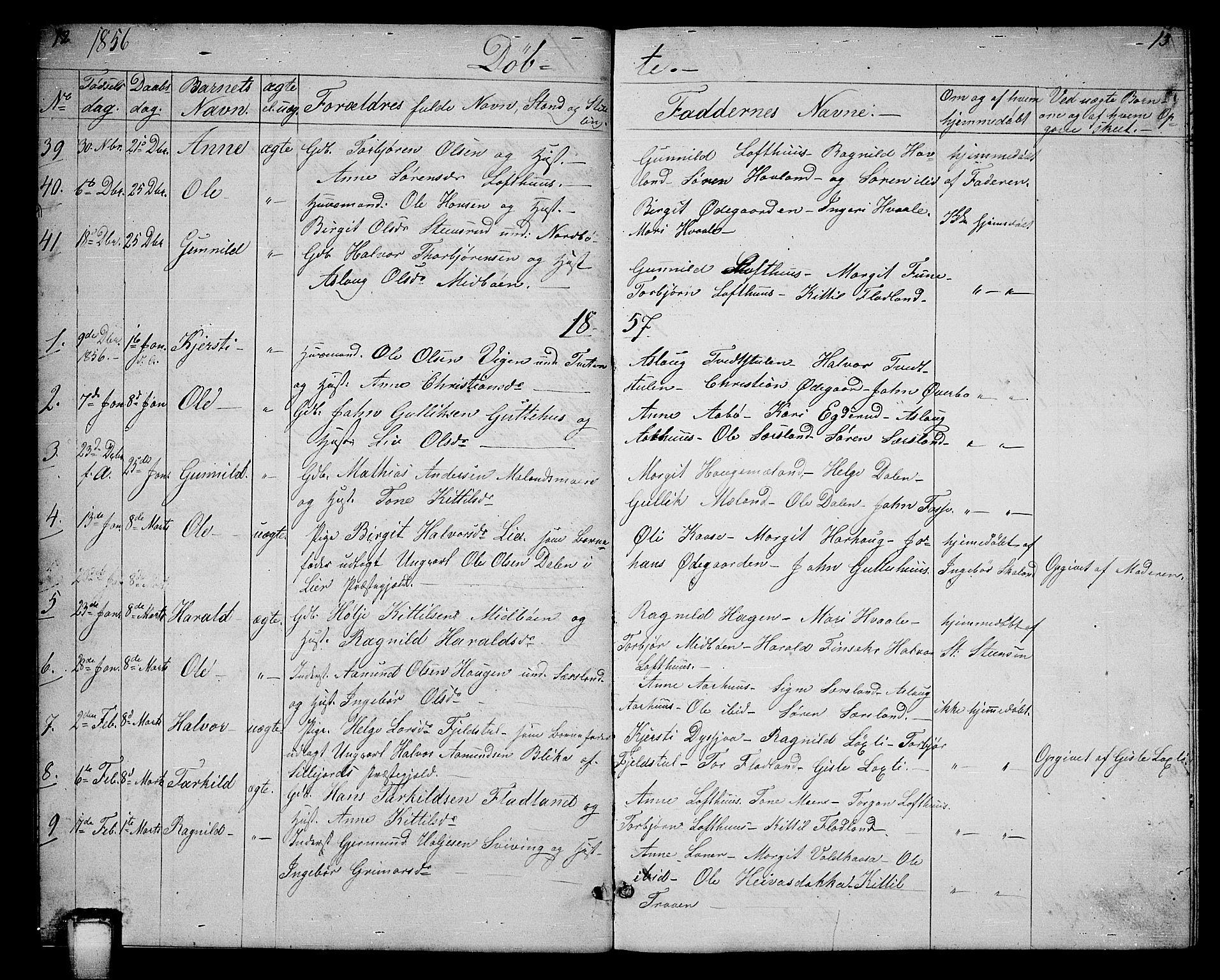 SAKO, Hjartdal kirkebøker, G/Ga/L0002: Klokkerbok nr. I 2, 1854-1888, s. 12-13