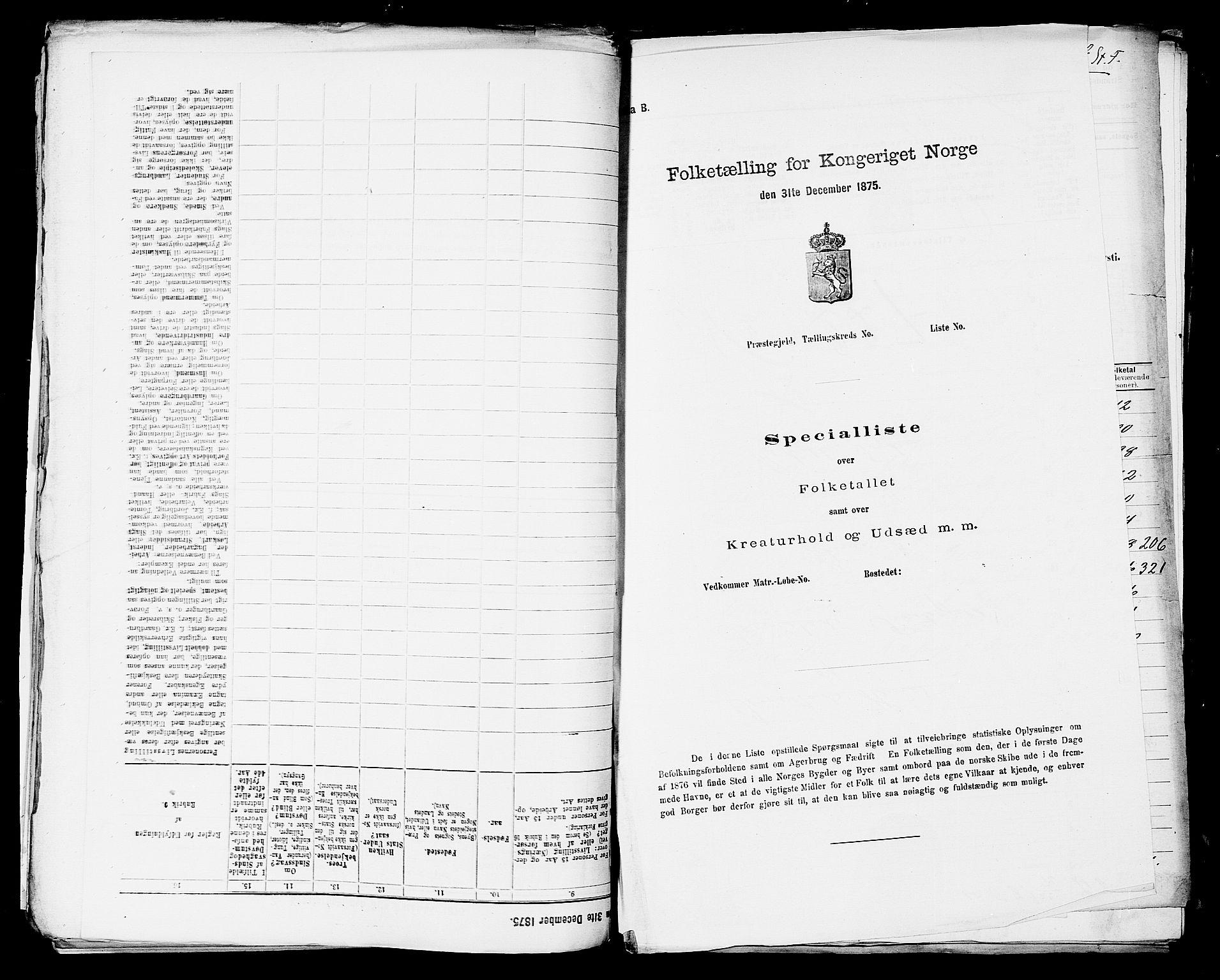 SAST, Folketelling 1875 for 1152L Torvastad prestegjeld, Torvastad sokn, Skåre sokn og Utsira sokn, 1875, s. 1