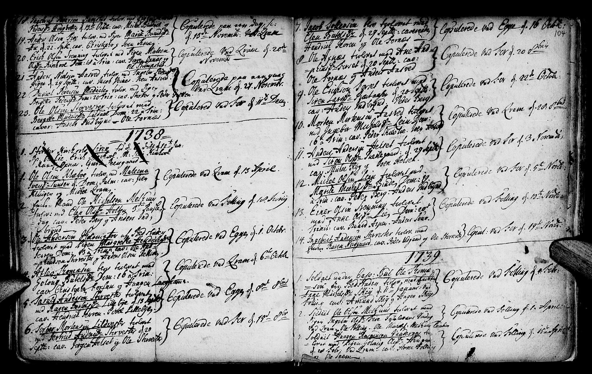 SAT, Ministerialprotokoller, klokkerbøker og fødselsregistre - Nord-Trøndelag, 746/L0439: Ministerialbok nr. 746A01, 1688-1759, s. 104