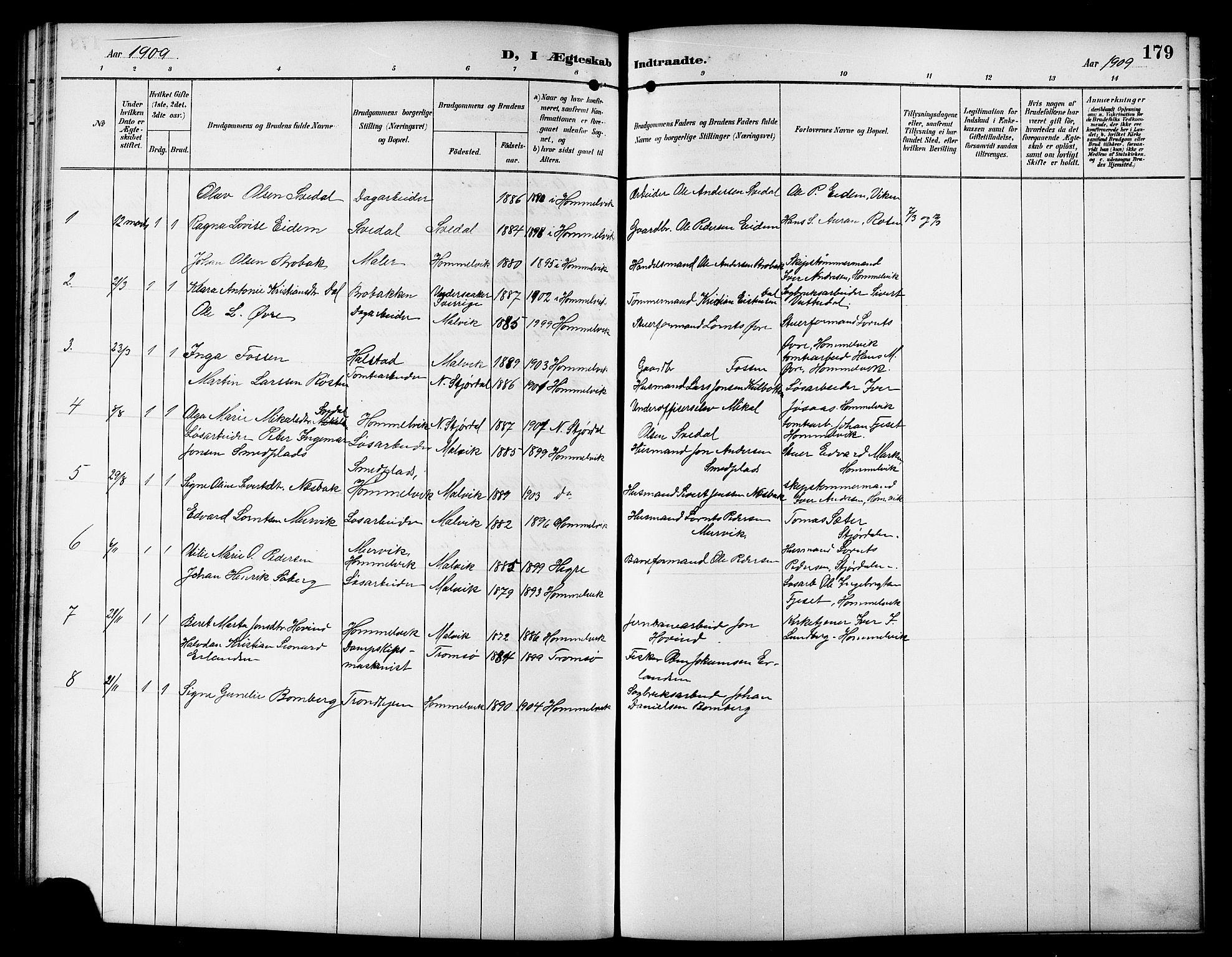 SAT, Ministerialprotokoller, klokkerbøker og fødselsregistre - Sør-Trøndelag, 617/L0431: Klokkerbok nr. 617C01, 1889-1910, s. 179