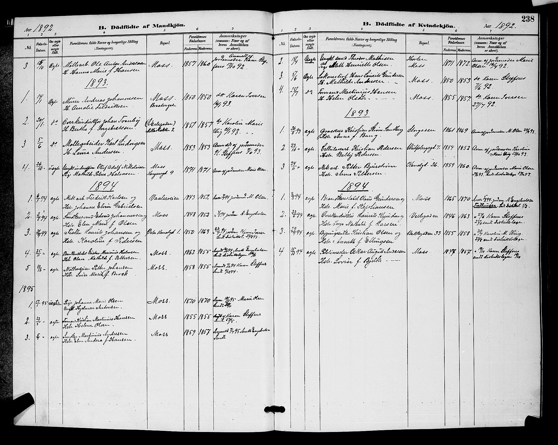 SAO, Moss prestekontor Kirkebøker, G/Ga/L0006: Klokkerbok nr. I 6, 1889-1900, s. 238