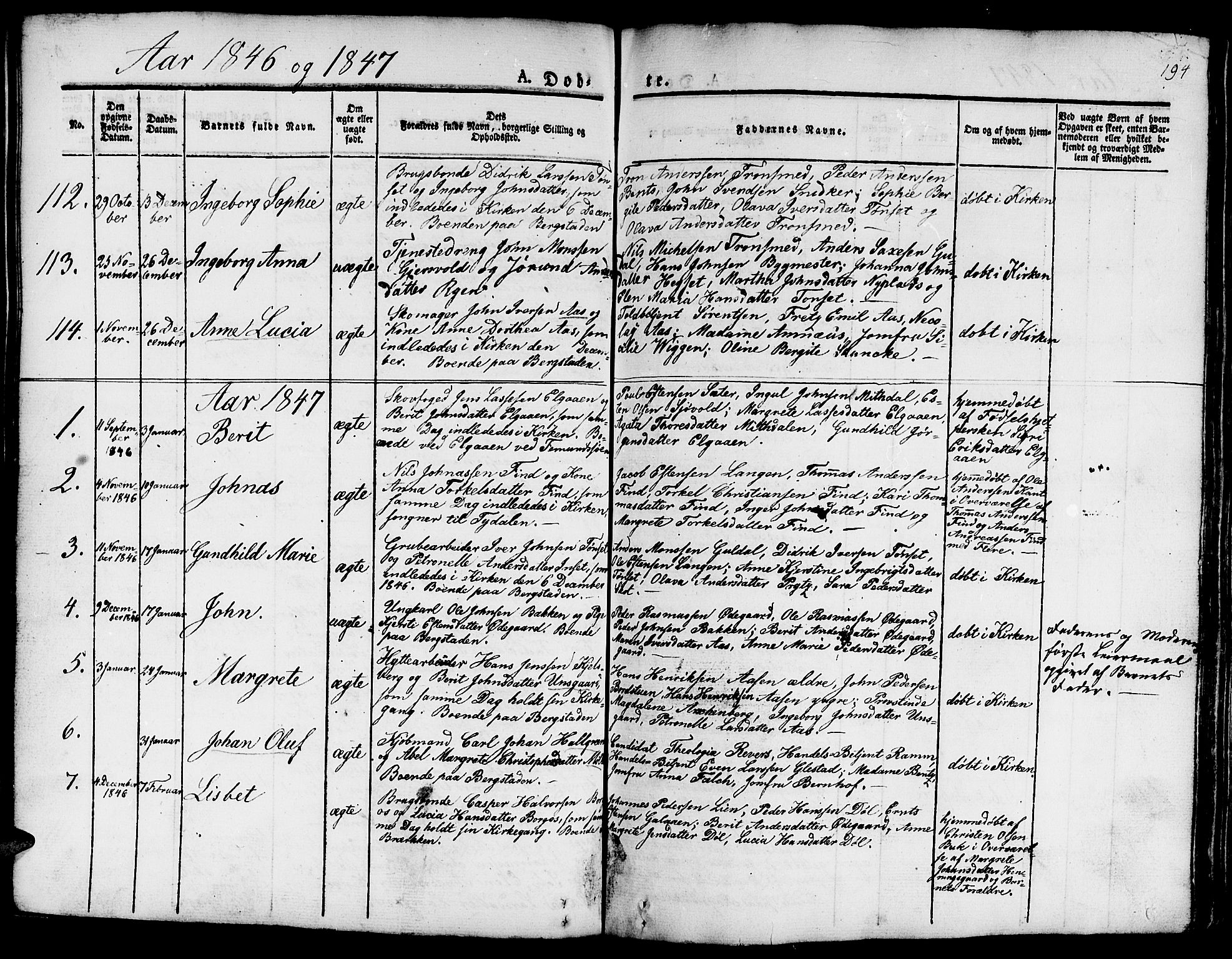 SAT, Ministerialprotokoller, klokkerbøker og fødselsregistre - Sør-Trøndelag, 681/L0938: Klokkerbok nr. 681C02, 1829-1879, s. 194