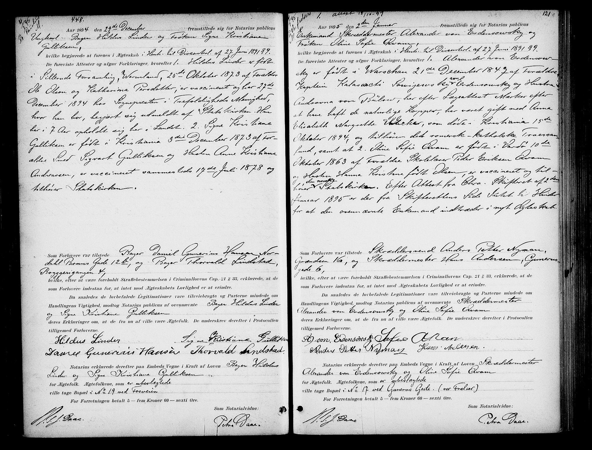 SAO, Oslo byfogd avd. I, L/Lb/Lbb/L0002: Notarialprotokoll, rekke II: Vigsler, 1893-1897, s. 120b-121a