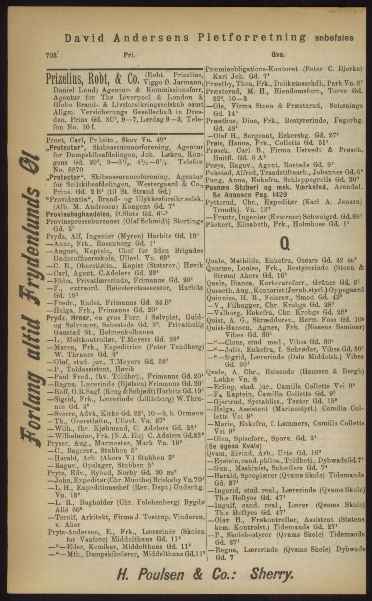 RA, Kristiania adressebok (publikasjon)*, 1903, s. 702