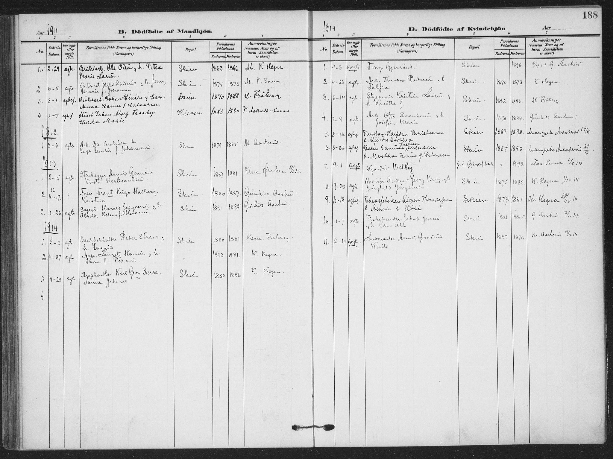SAKO, Skien kirkebøker, F/Fa/L0012: Ministerialbok nr. 12, 1908-1914, s. 188