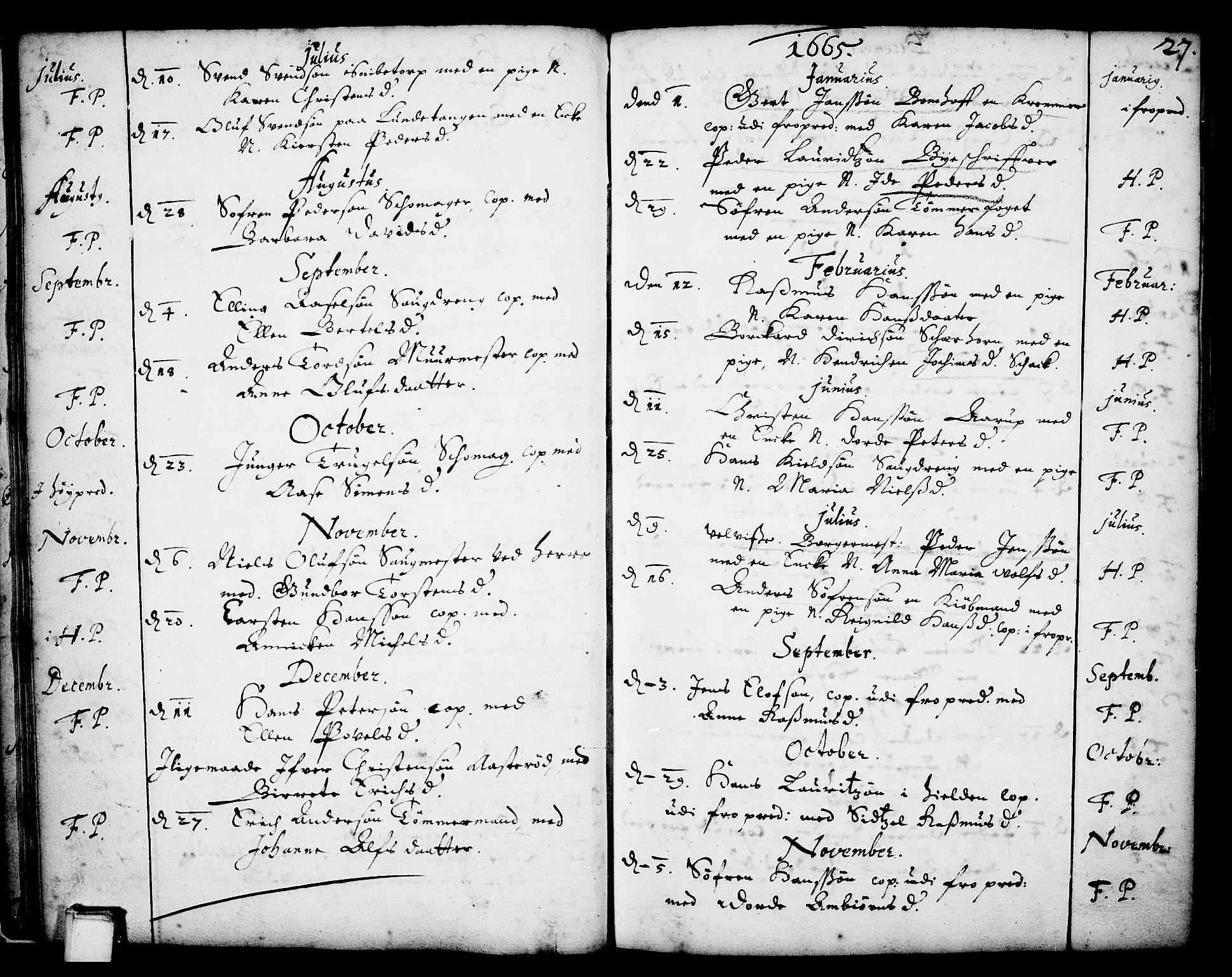 SAKO, Skien kirkebøker, F/Fa/L0001: Ministerialbok nr. 1, 1659-1679, s. 27