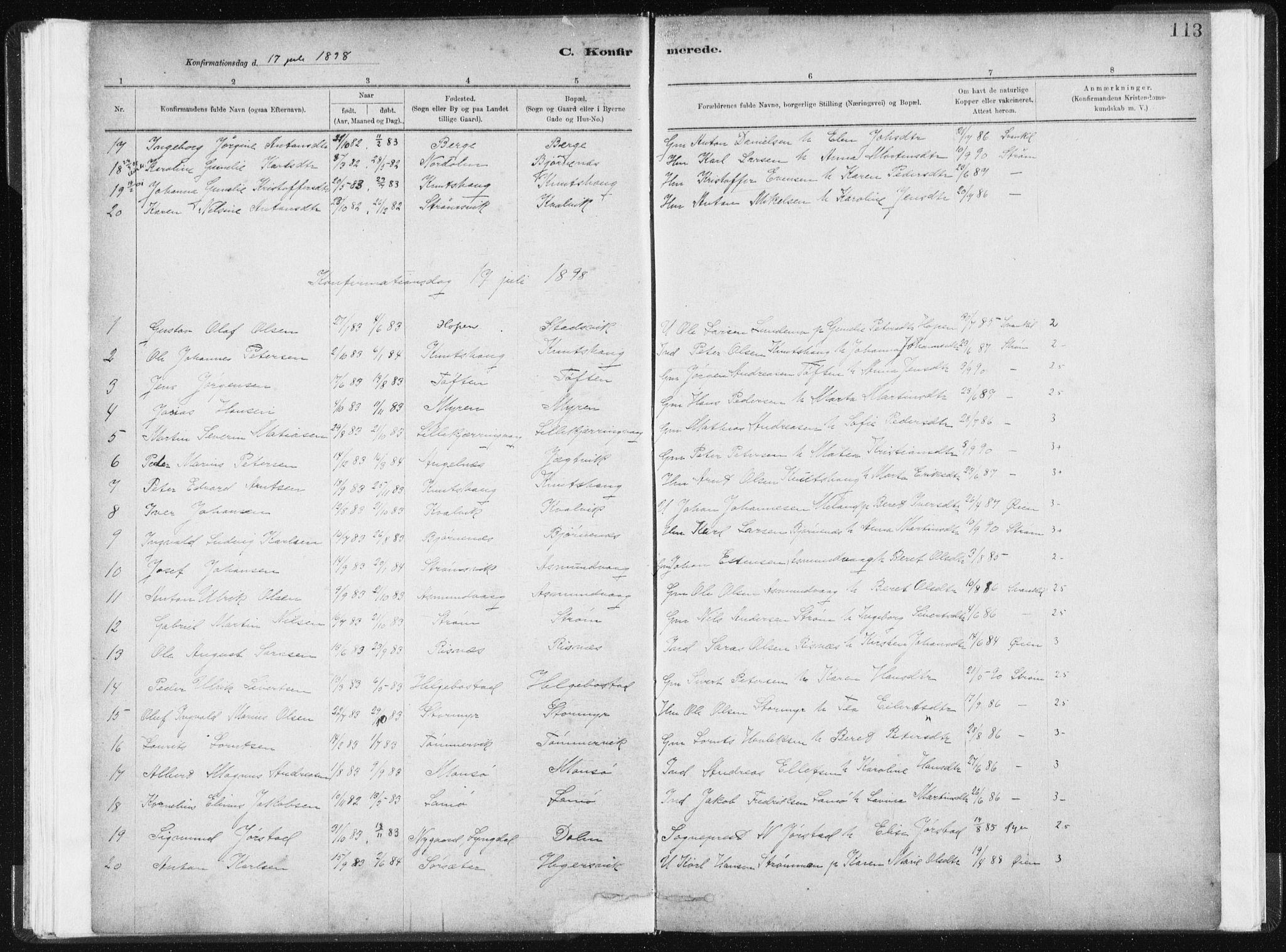 SAT, Ministerialprotokoller, klokkerbøker og fødselsregistre - Sør-Trøndelag, 634/L0533: Ministerialbok nr. 634A09, 1882-1901, s. 113