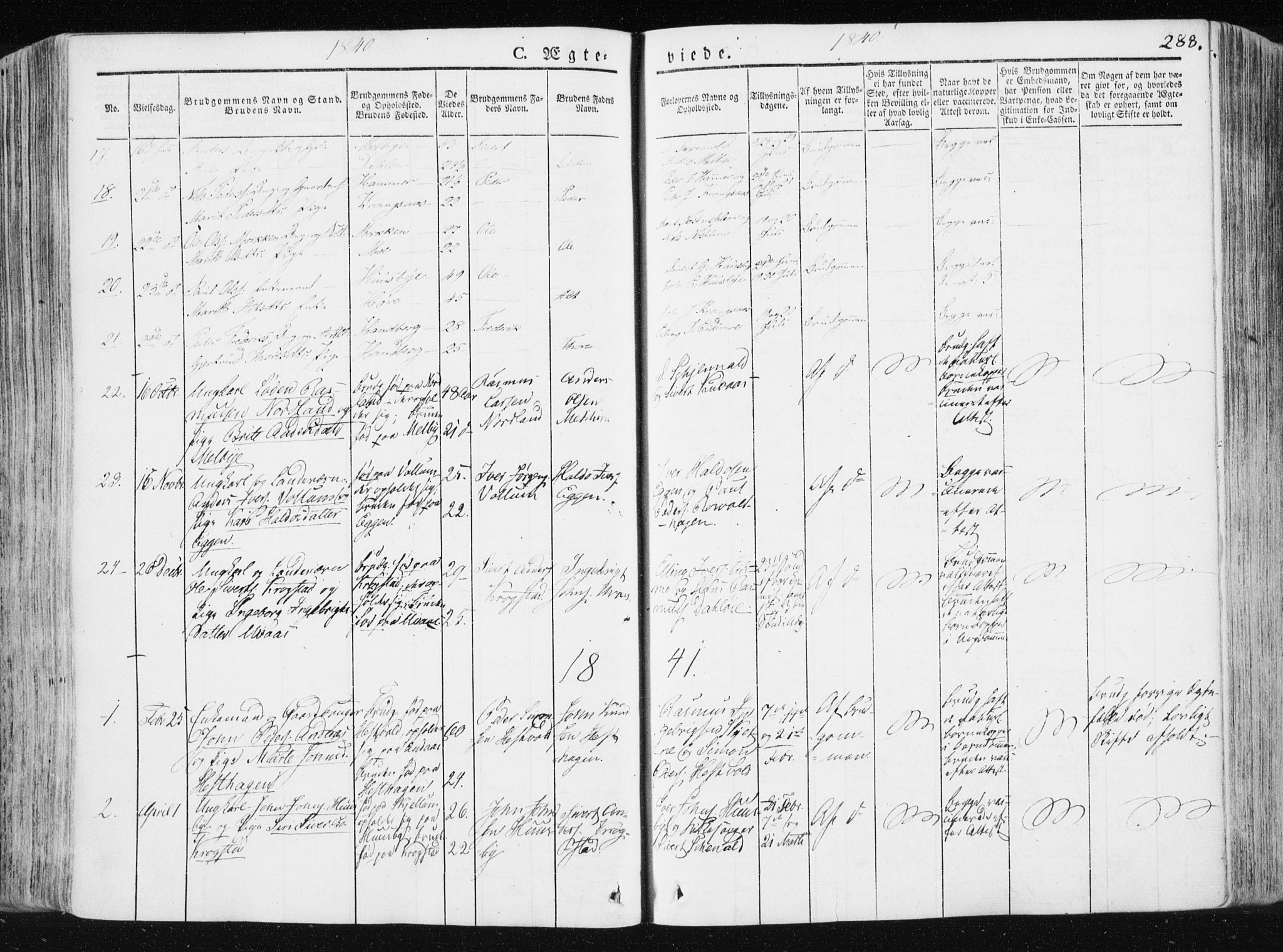 SAT, Ministerialprotokoller, klokkerbøker og fødselsregistre - Sør-Trøndelag, 665/L0771: Ministerialbok nr. 665A06, 1830-1856, s. 288