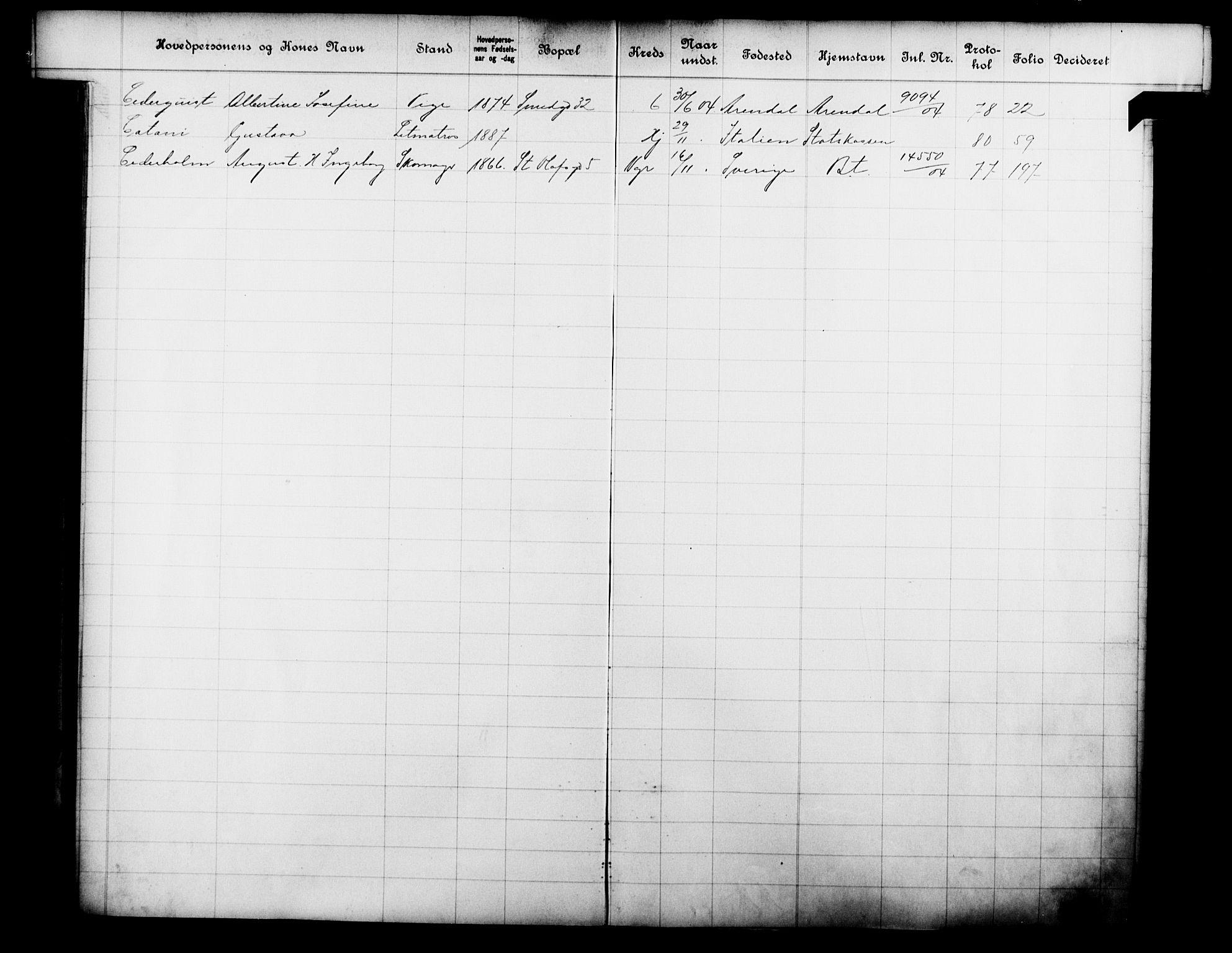 OBA, Fattigvesenet, Fb/L0023: Hjemstavnsregister, 1904, s. 34