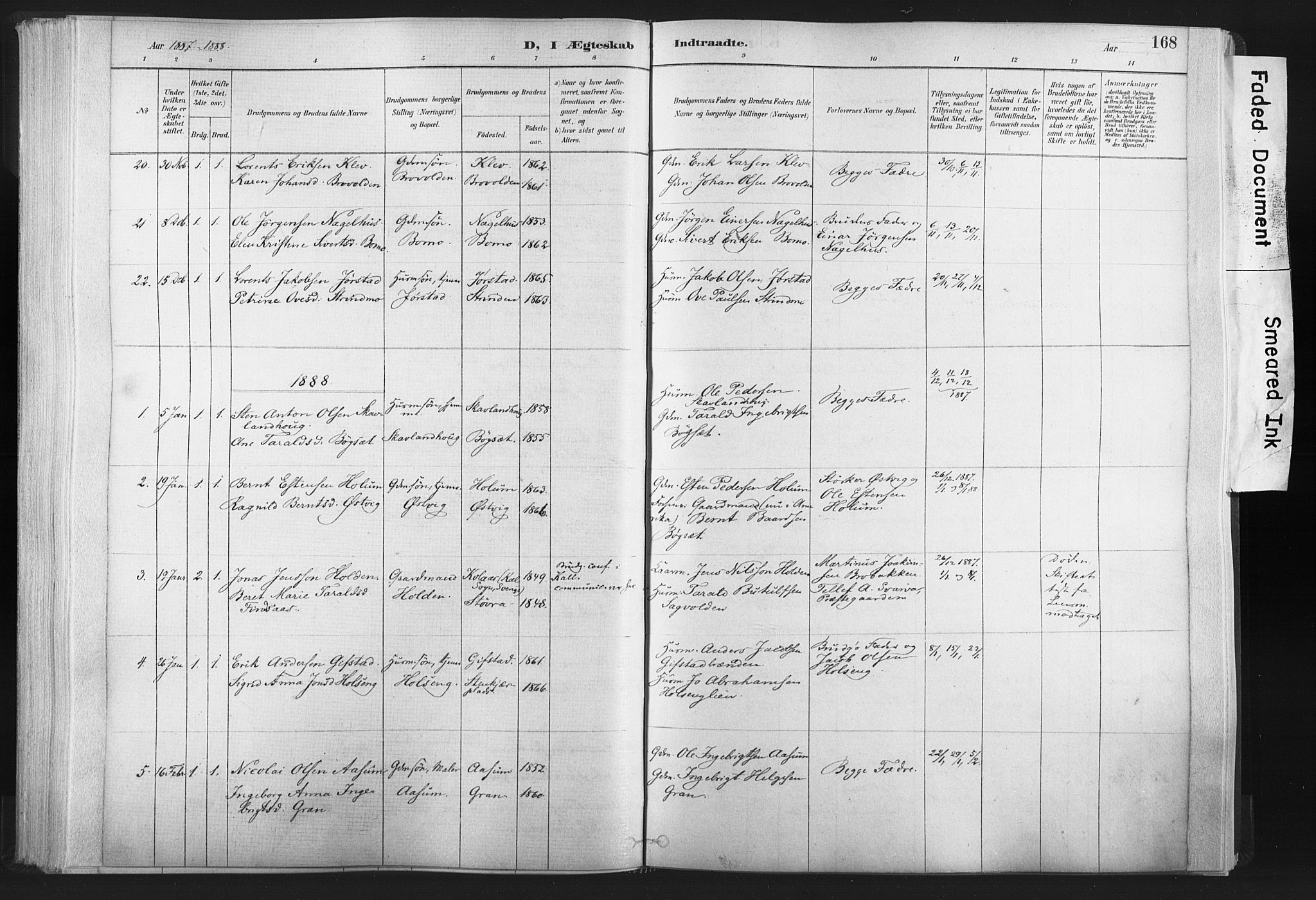 SAT, Ministerialprotokoller, klokkerbøker og fødselsregistre - Nord-Trøndelag, 749/L0474: Ministerialbok nr. 749A08, 1887-1903, s. 168