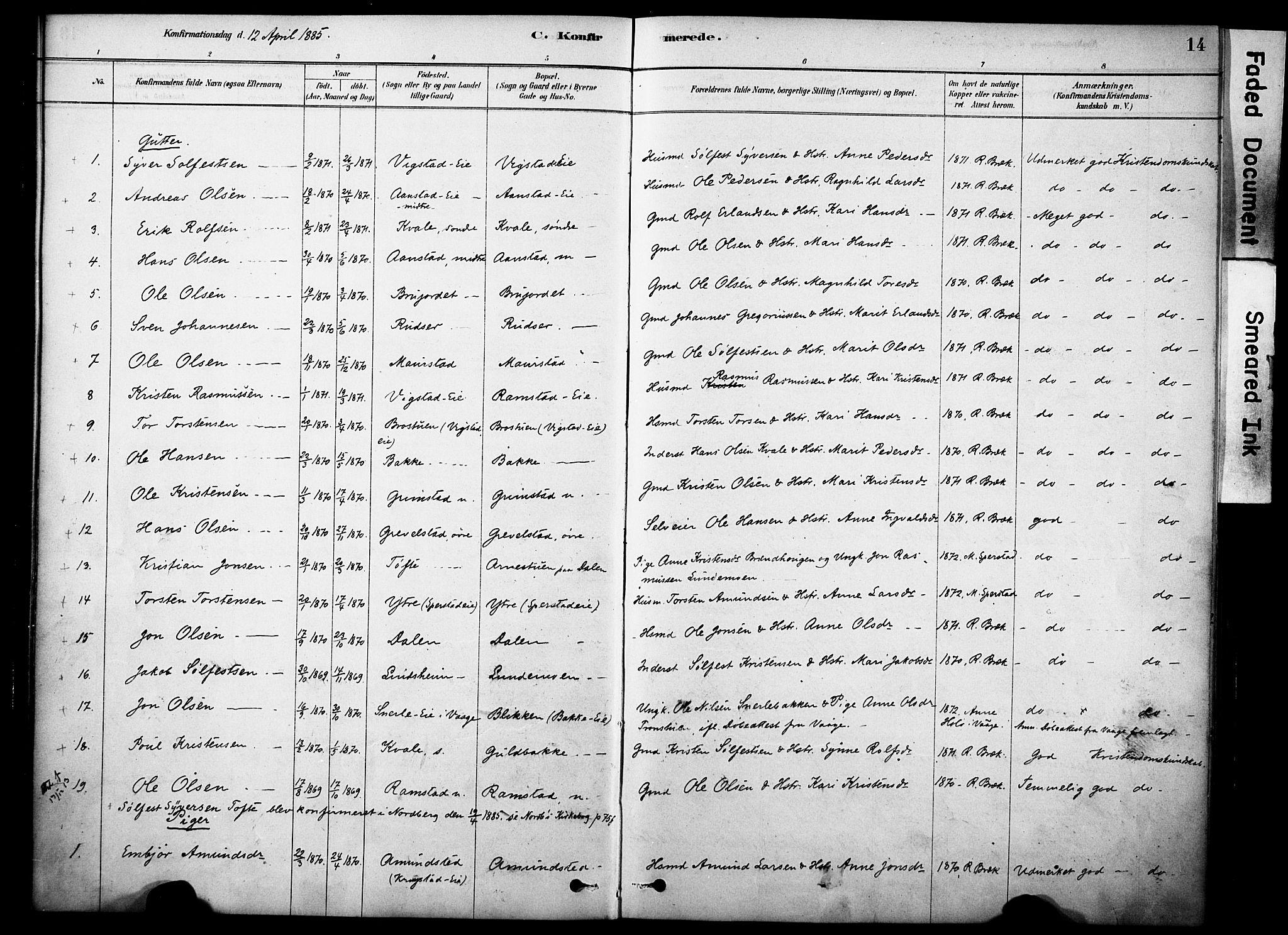 SAH, Skjåk prestekontor, Ministerialbok nr. 2, 1878-1907, s. 14
