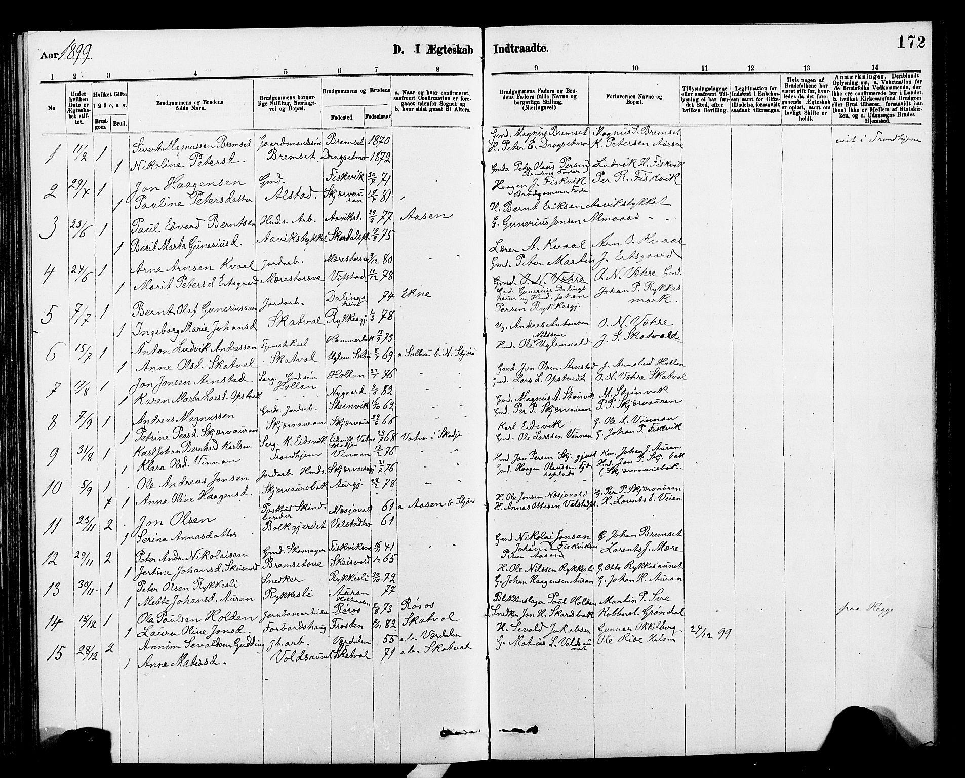 SAT, Ministerialprotokoller, klokkerbøker og fødselsregistre - Nord-Trøndelag, 712/L0103: Klokkerbok nr. 712C01, 1878-1917, s. 172