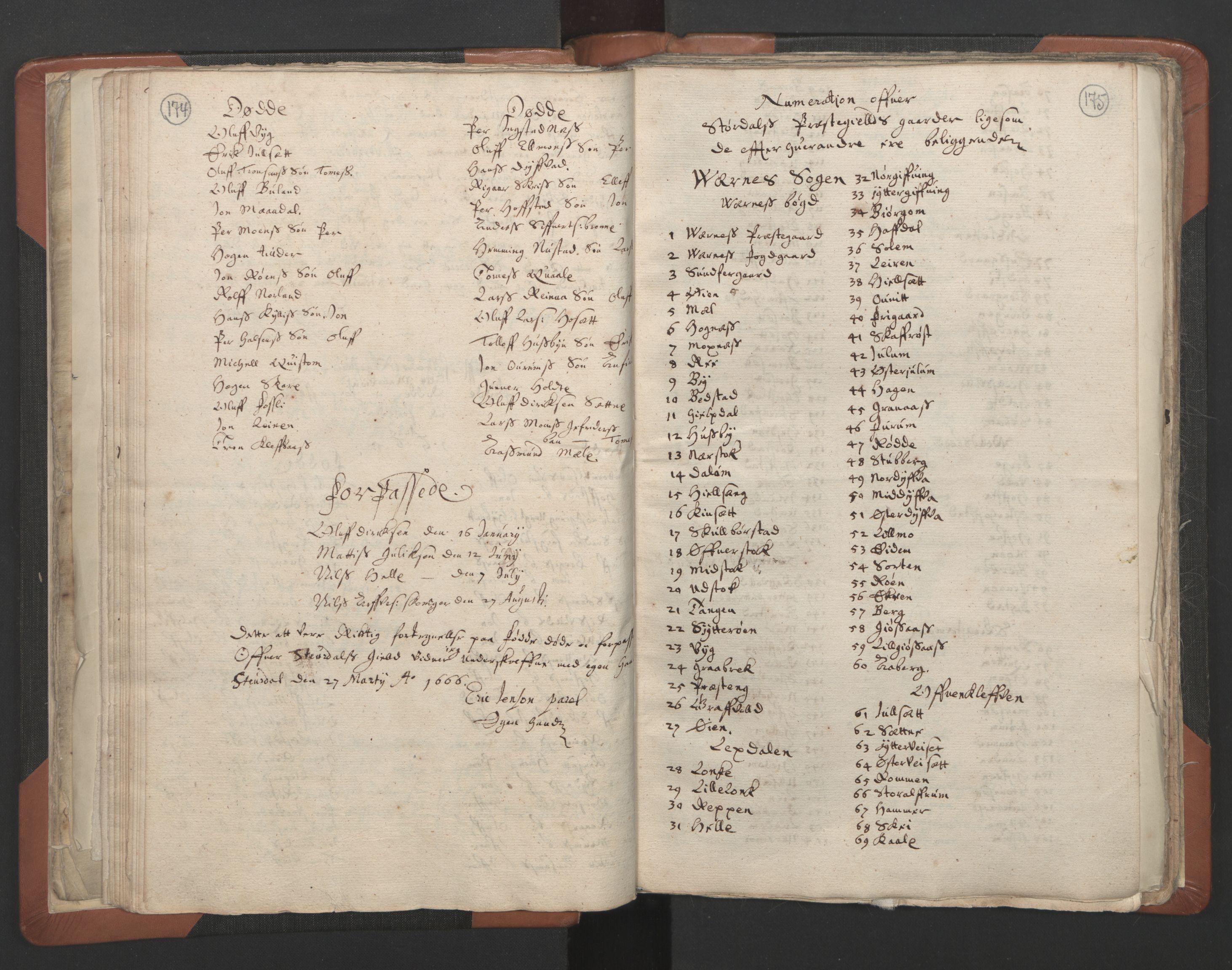 RA, Sogneprestenes manntall 1664-1666, nr. 32: Innherad prosti, 1664-1666, s. 174-175