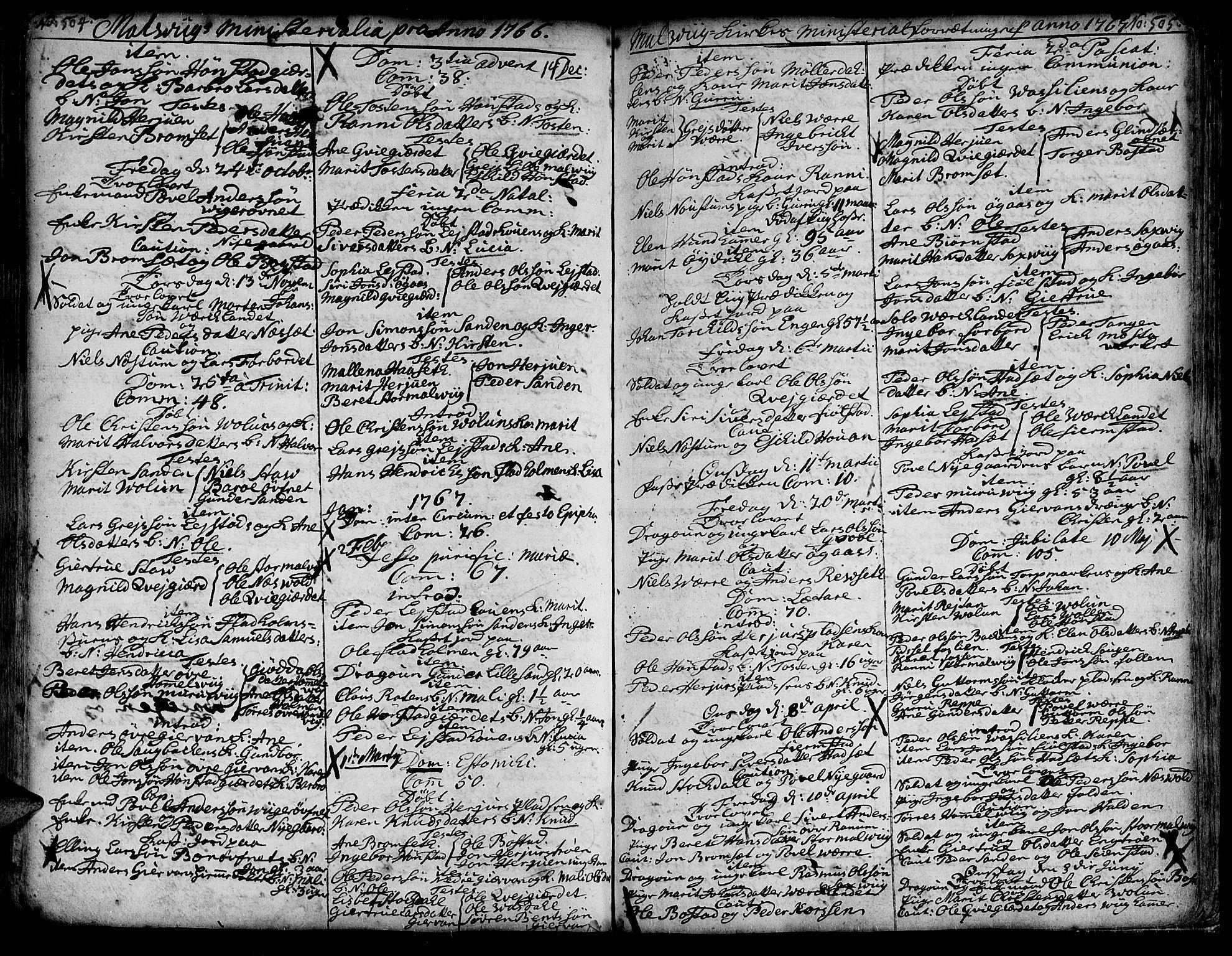 SAT, Ministerialprotokoller, klokkerbøker og fødselsregistre - Sør-Trøndelag, 606/L0277: Ministerialbok nr. 606A01 /3, 1727-1780, s. 504-505