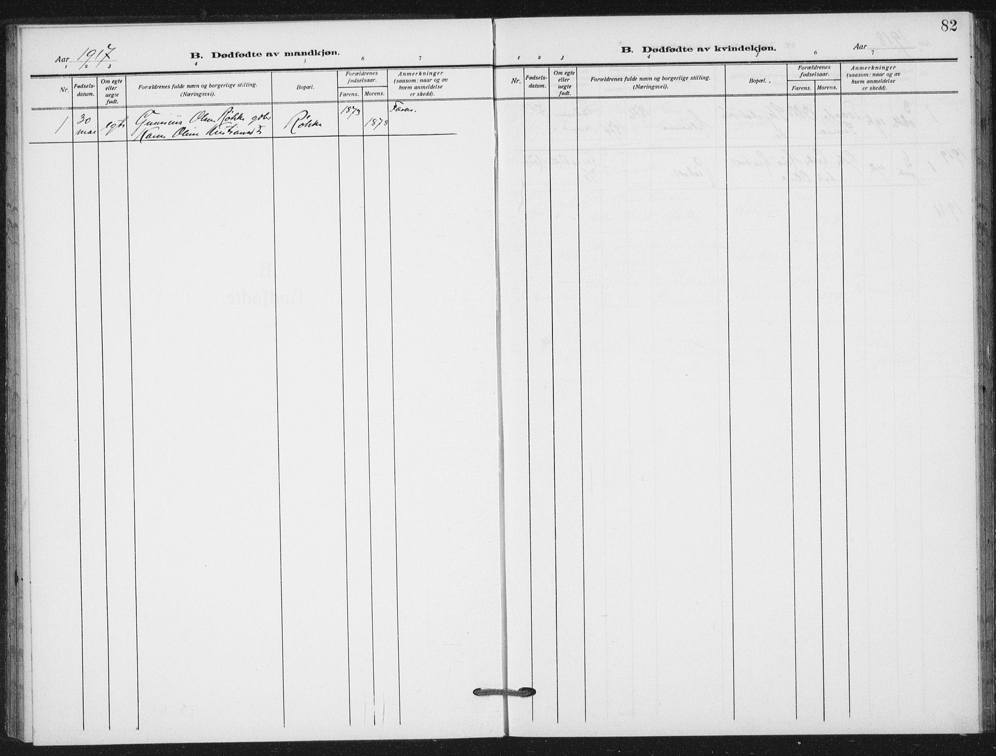 SAT, Ministerialprotokoller, klokkerbøker og fødselsregistre - Nord-Trøndelag, 712/L0102: Ministerialbok nr. 712A03, 1916-1929, s. 82