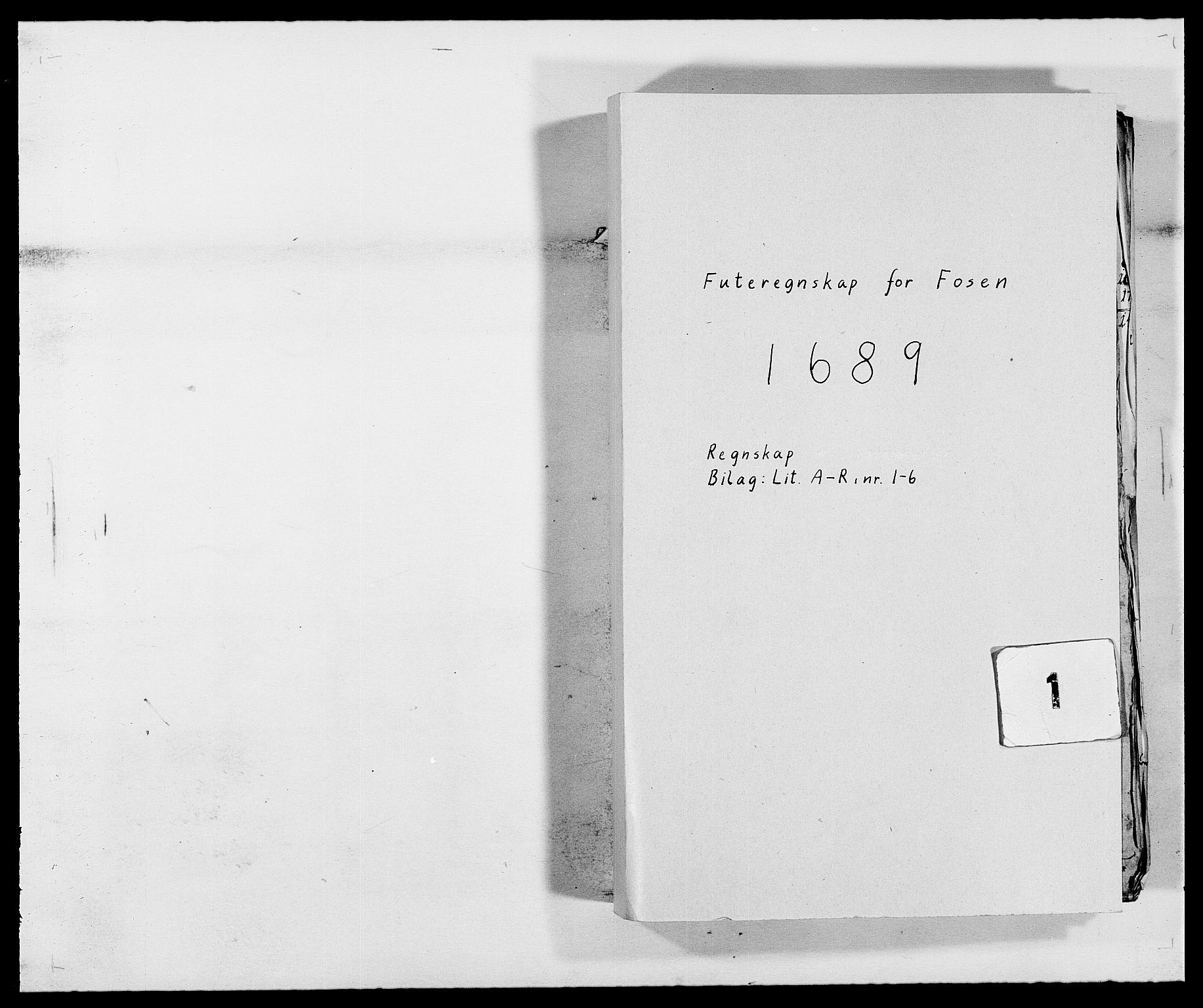 RA, Rentekammeret inntil 1814, Reviderte regnskaper, Fogderegnskap, R57/L3847: Fogderegnskap Fosen, 1689, s. 1